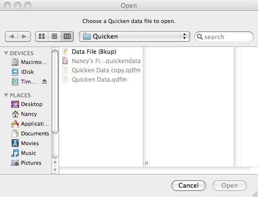 While I was working on my Quicken 2007 for Mac file, I