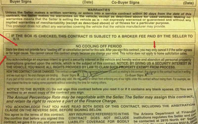 Arizona Rv Purchase I Signed A Contract They Kept Delaying