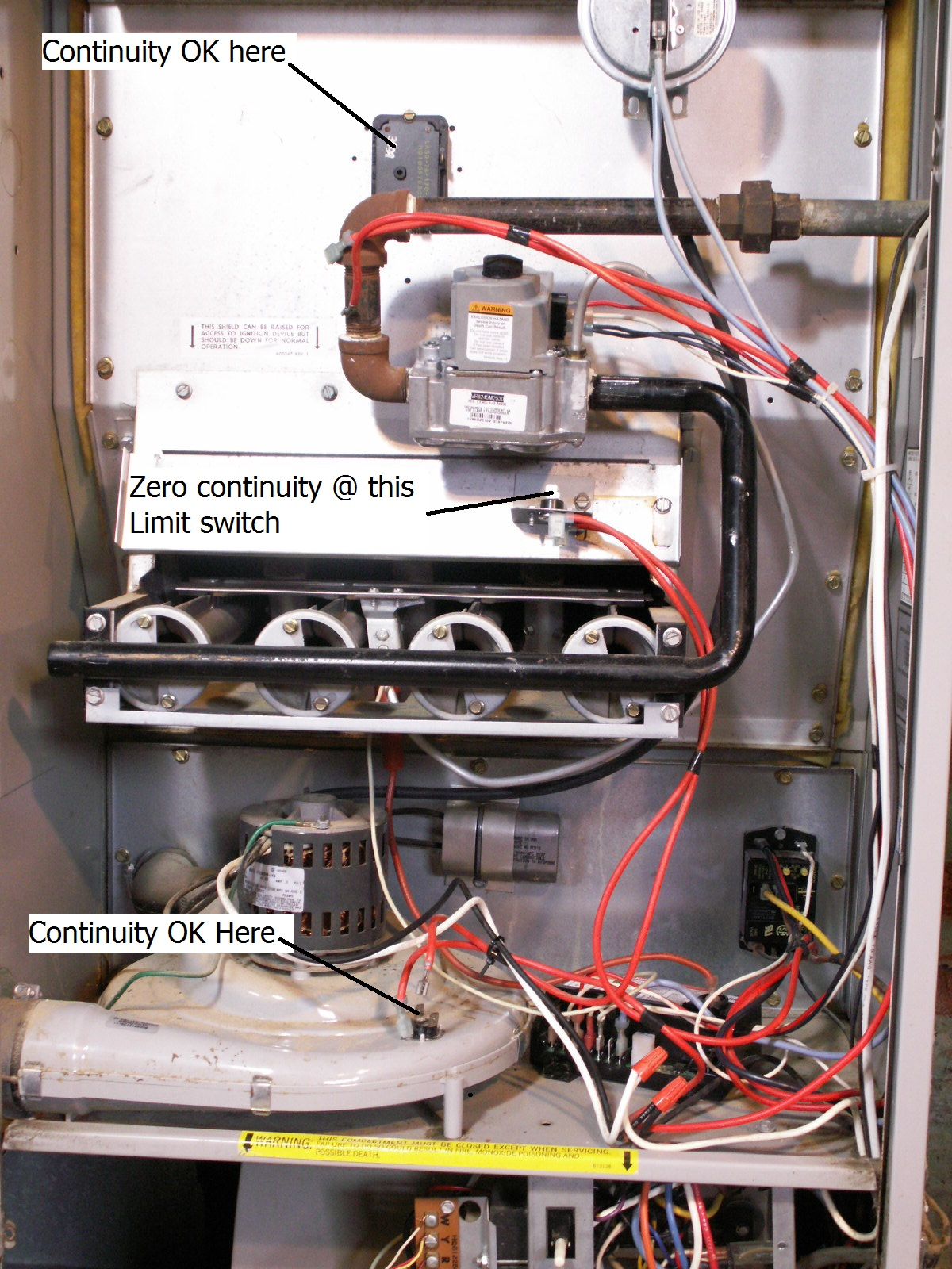 Also, when I jumper the wires that connect to the burner roll out (see  photo #1) the blower motor stops. HVAC Technician: servtech50