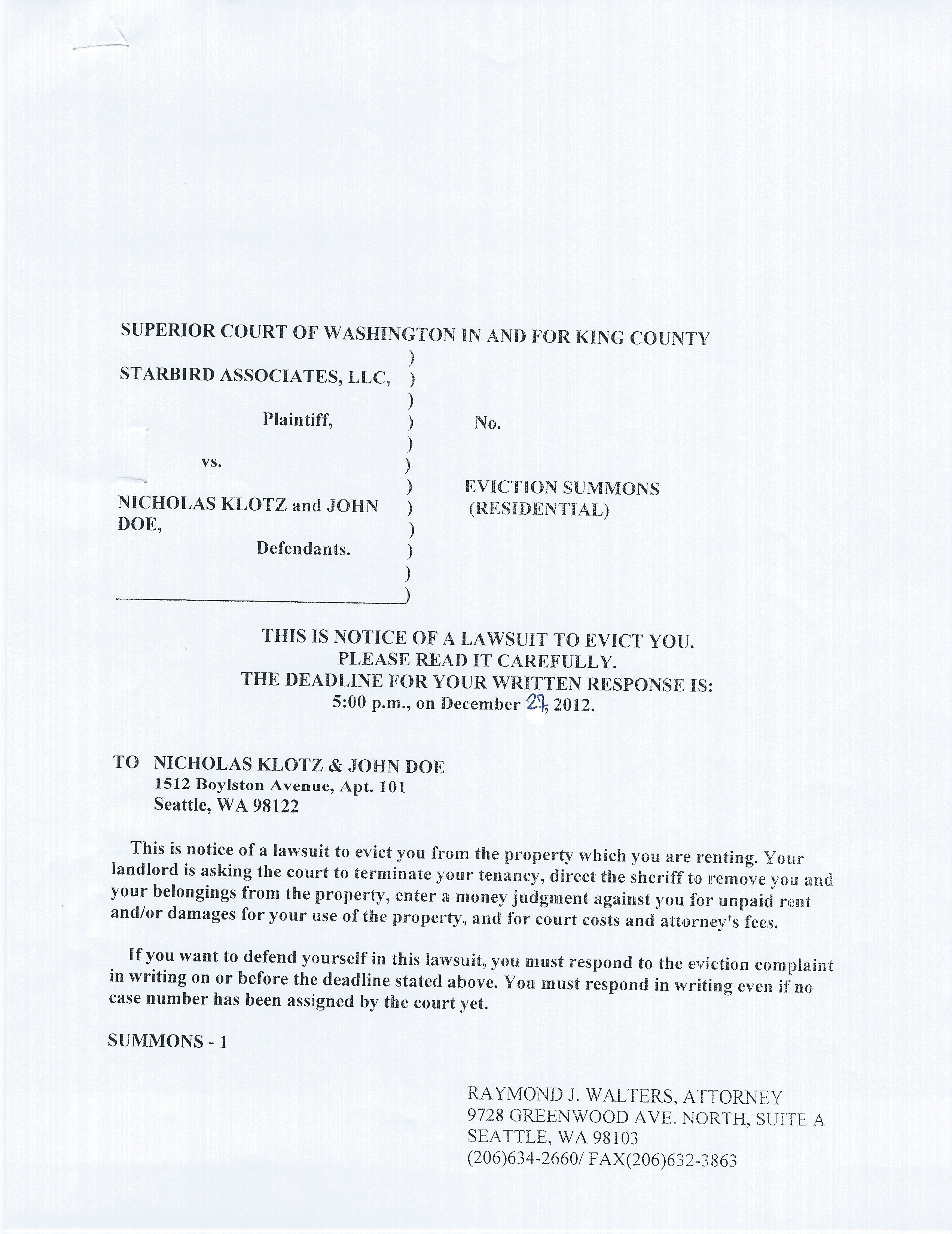 i received a residential eviction summons and notice of