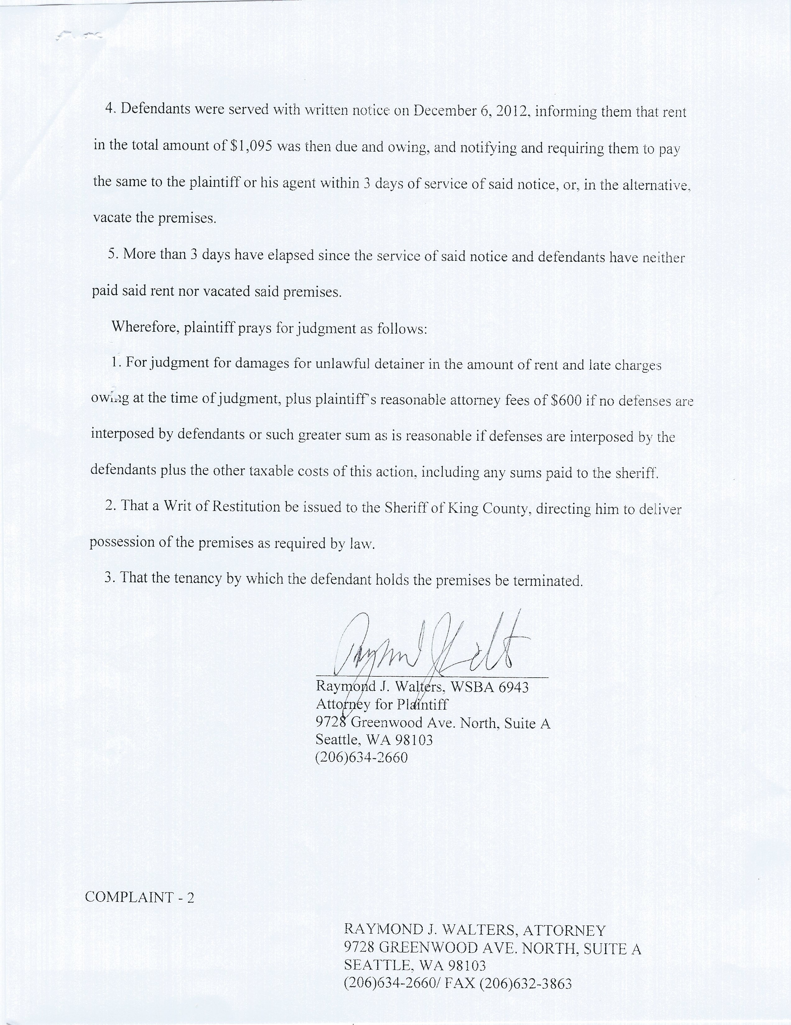 I received a Residential Eviction Summons and Notice of Unlawful