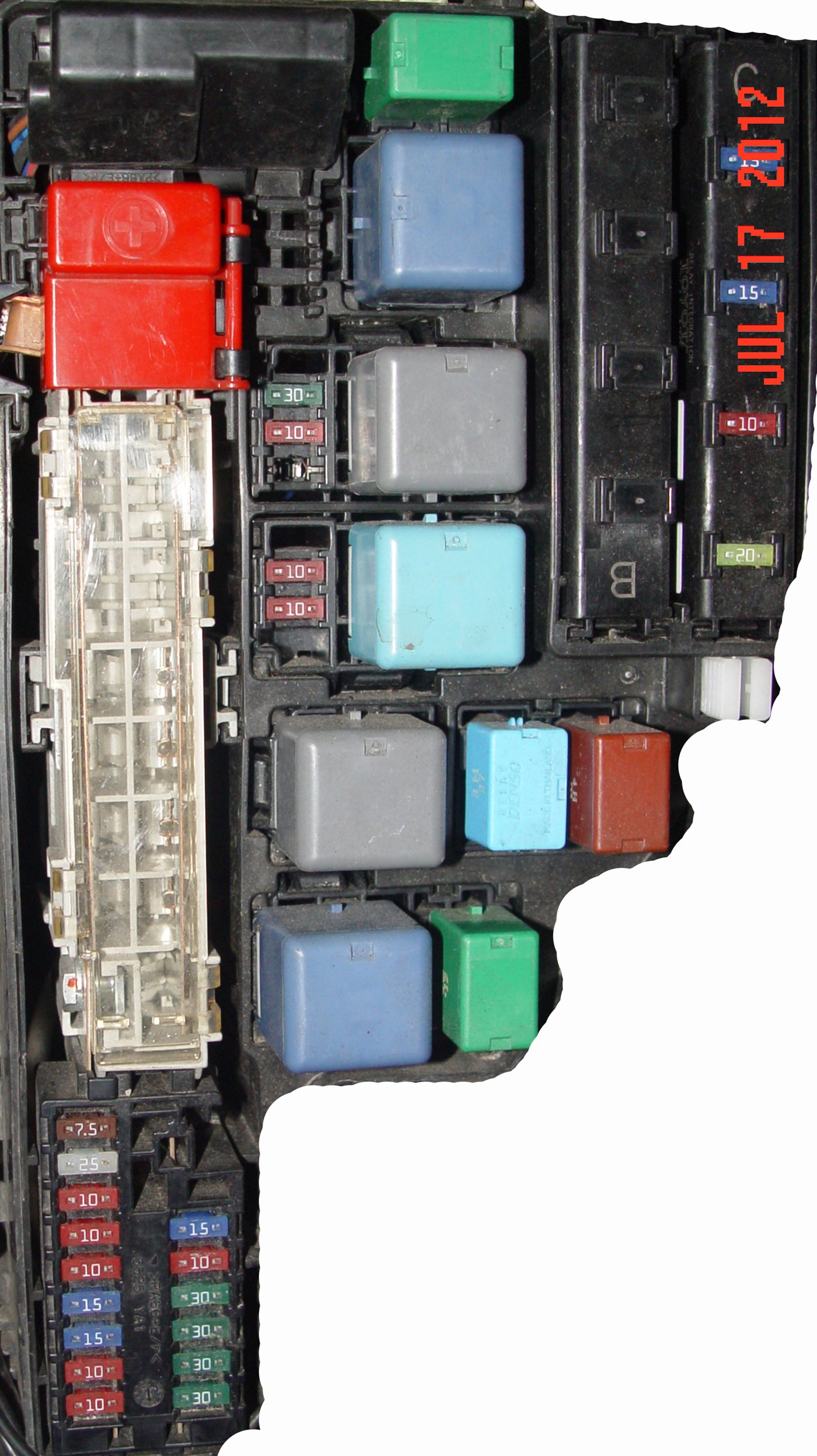 exteruior fuse box in the engine compartment