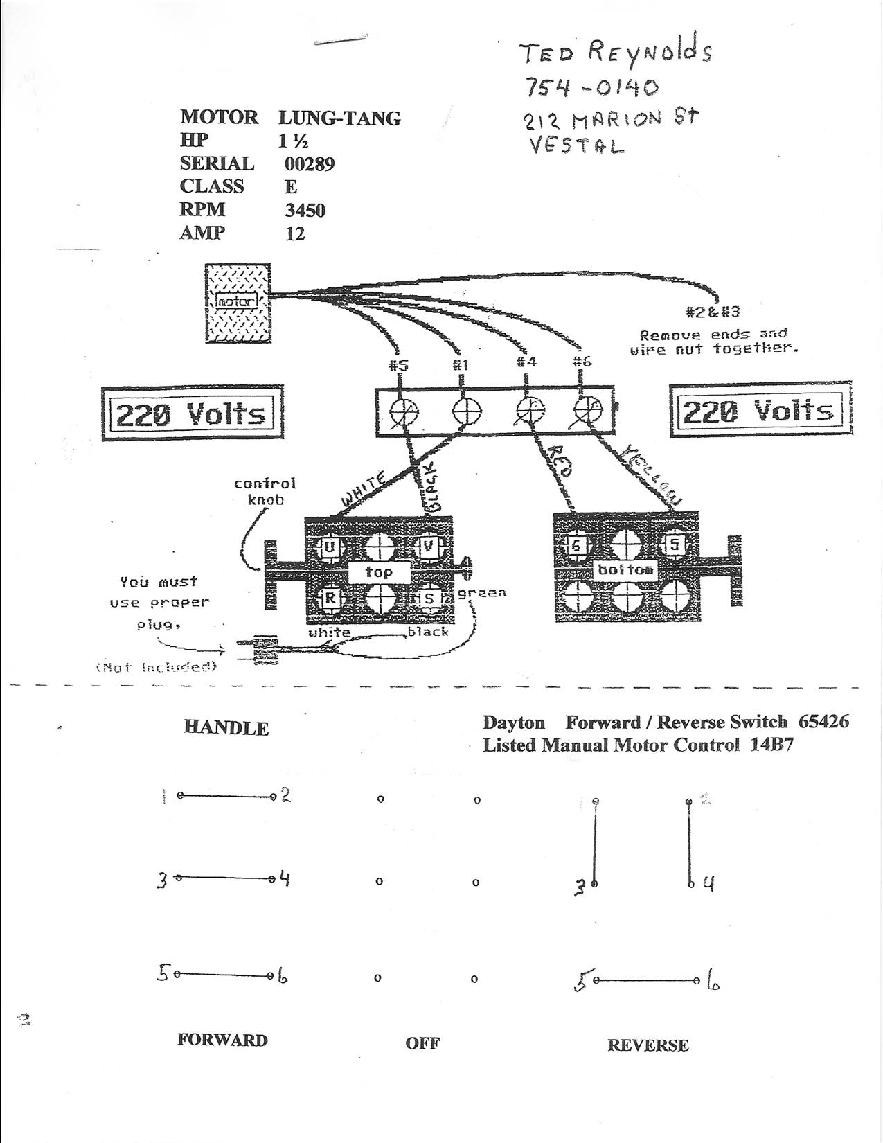 I Need To Know How Connect A Lung 15hp 220v Reversing Motor Dayton Switch Wiring Diagram Graphic