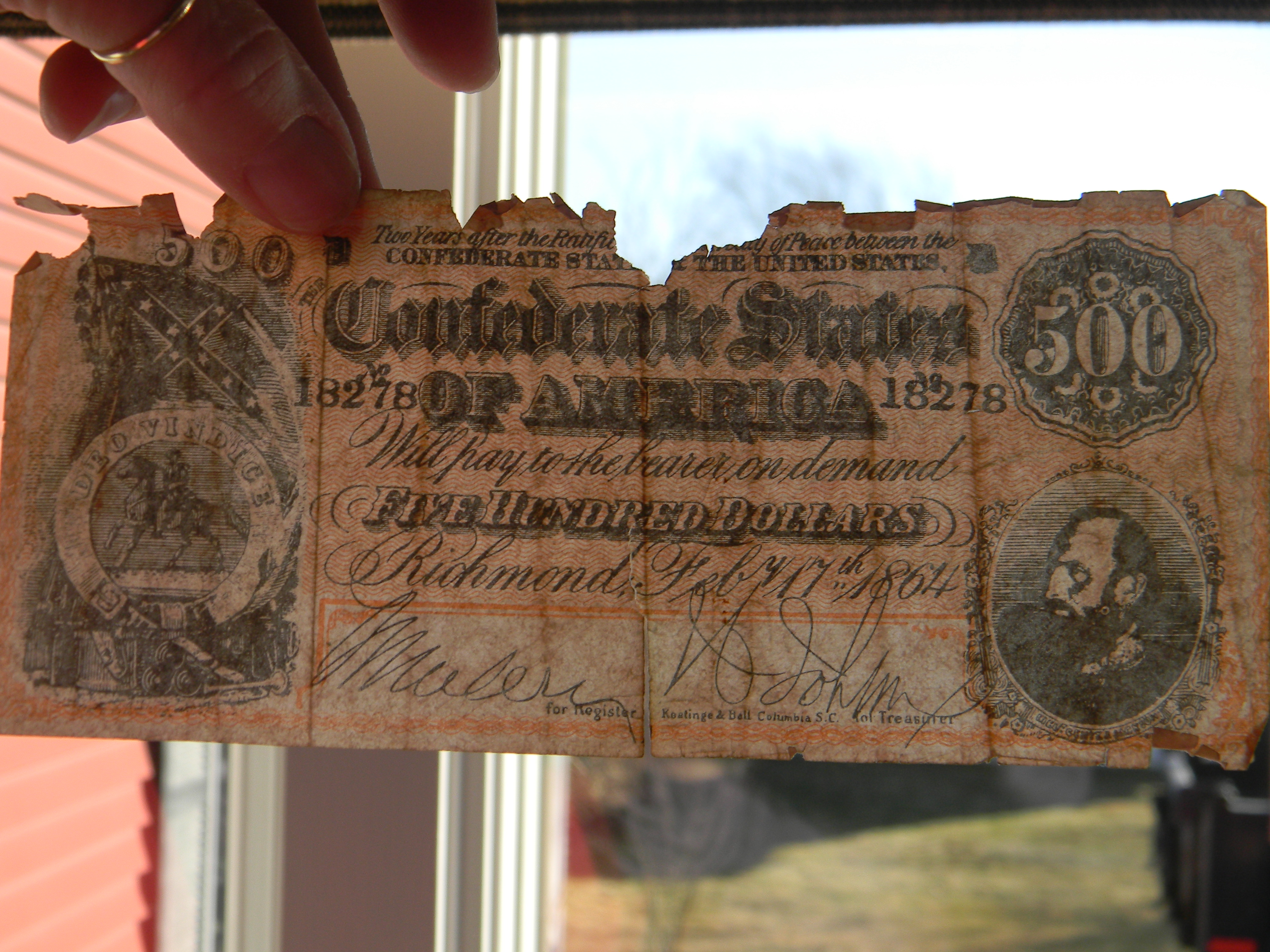 1864 2 years after Ratification $5 bill and a $500