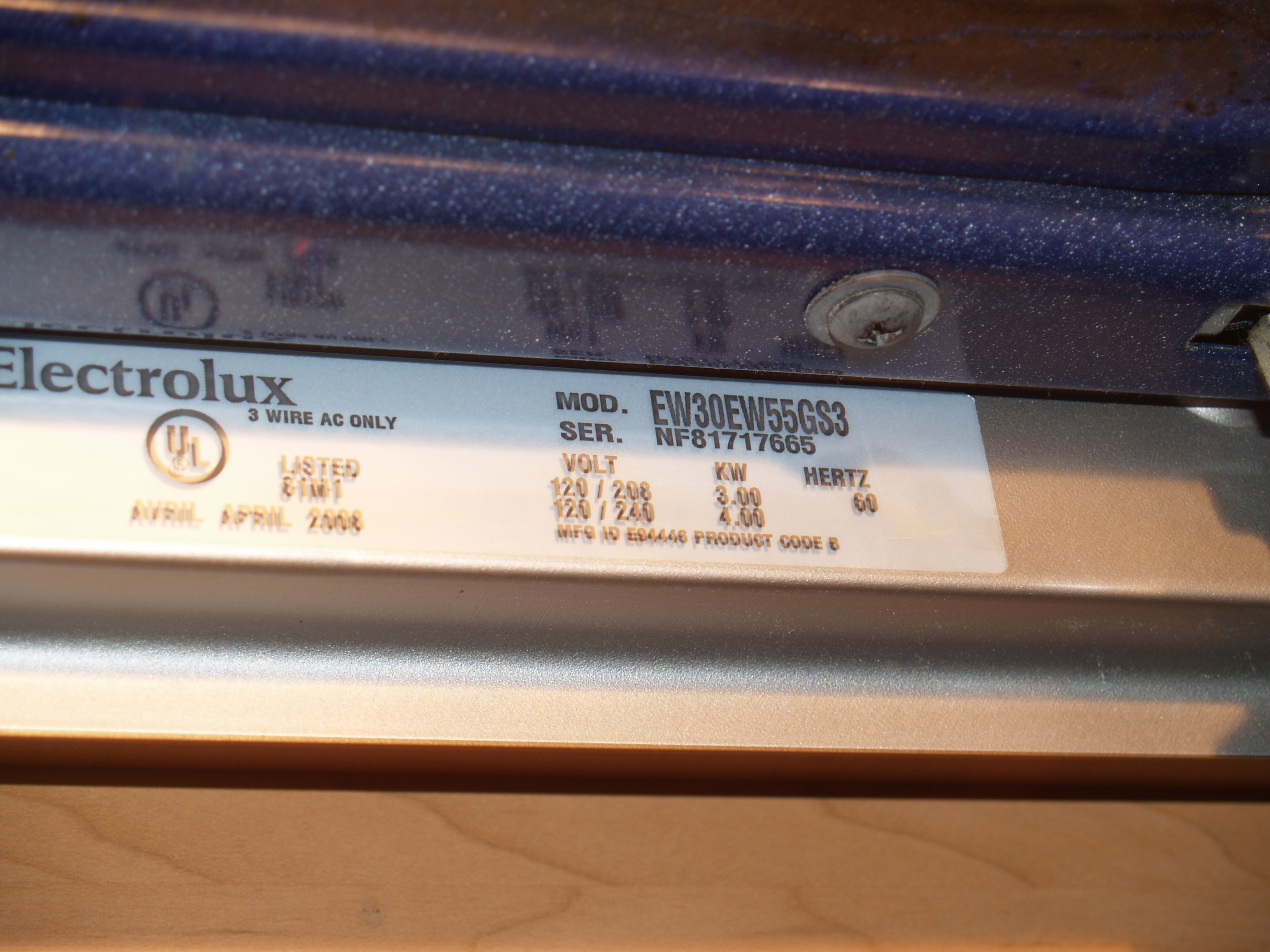 Electrolux Fw30ew55gs3 Oven On Bake Does Not Reach The Temperature Wiring Instructions Model And Serial Number