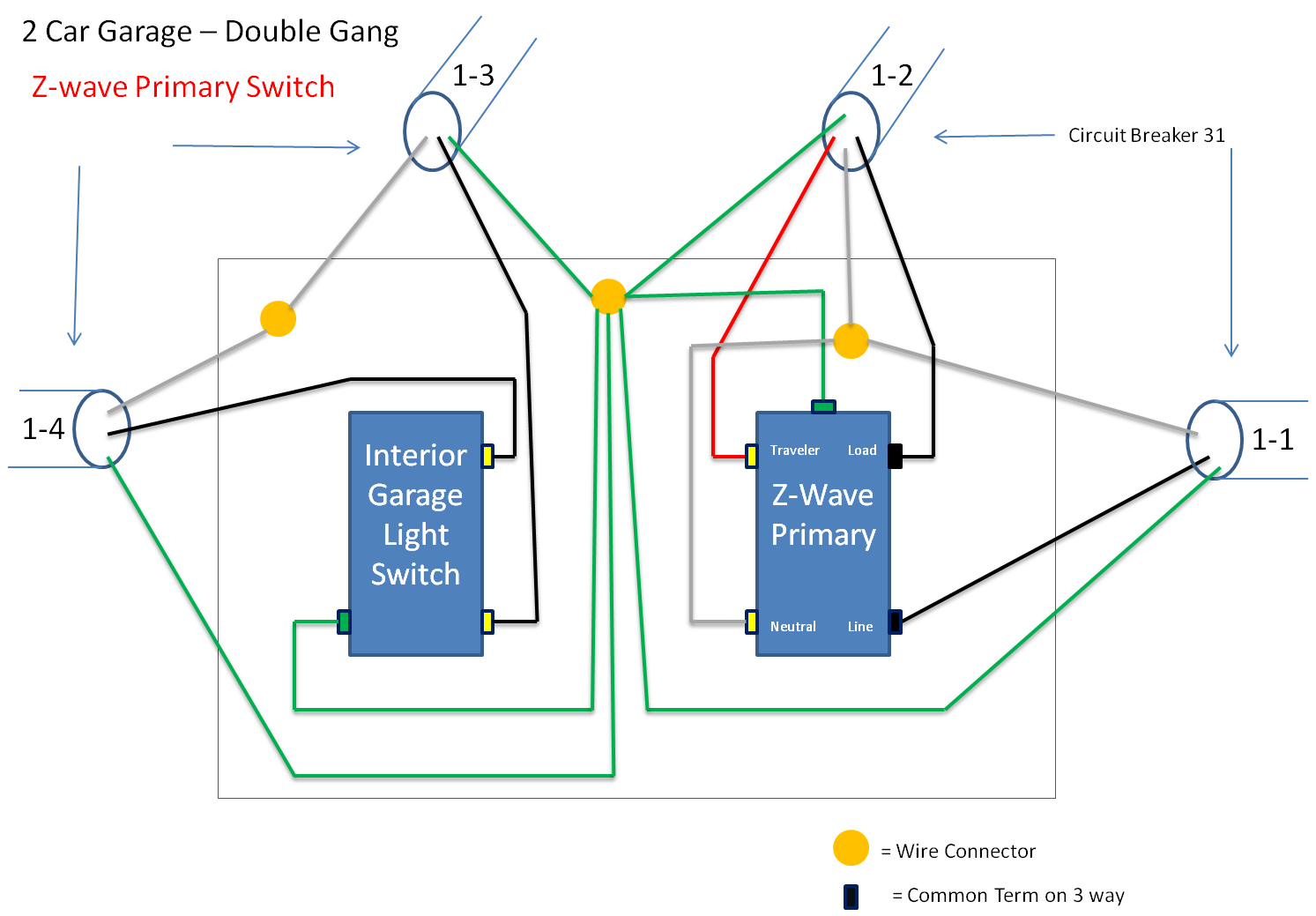 Wiring 3 Way Z Wave Diagram Schemes Lighting Circuit On Trying To Wire In A Ge 45614 Light Switch Kit Home Is Rh Justanswer Com Methods Multiple Lights