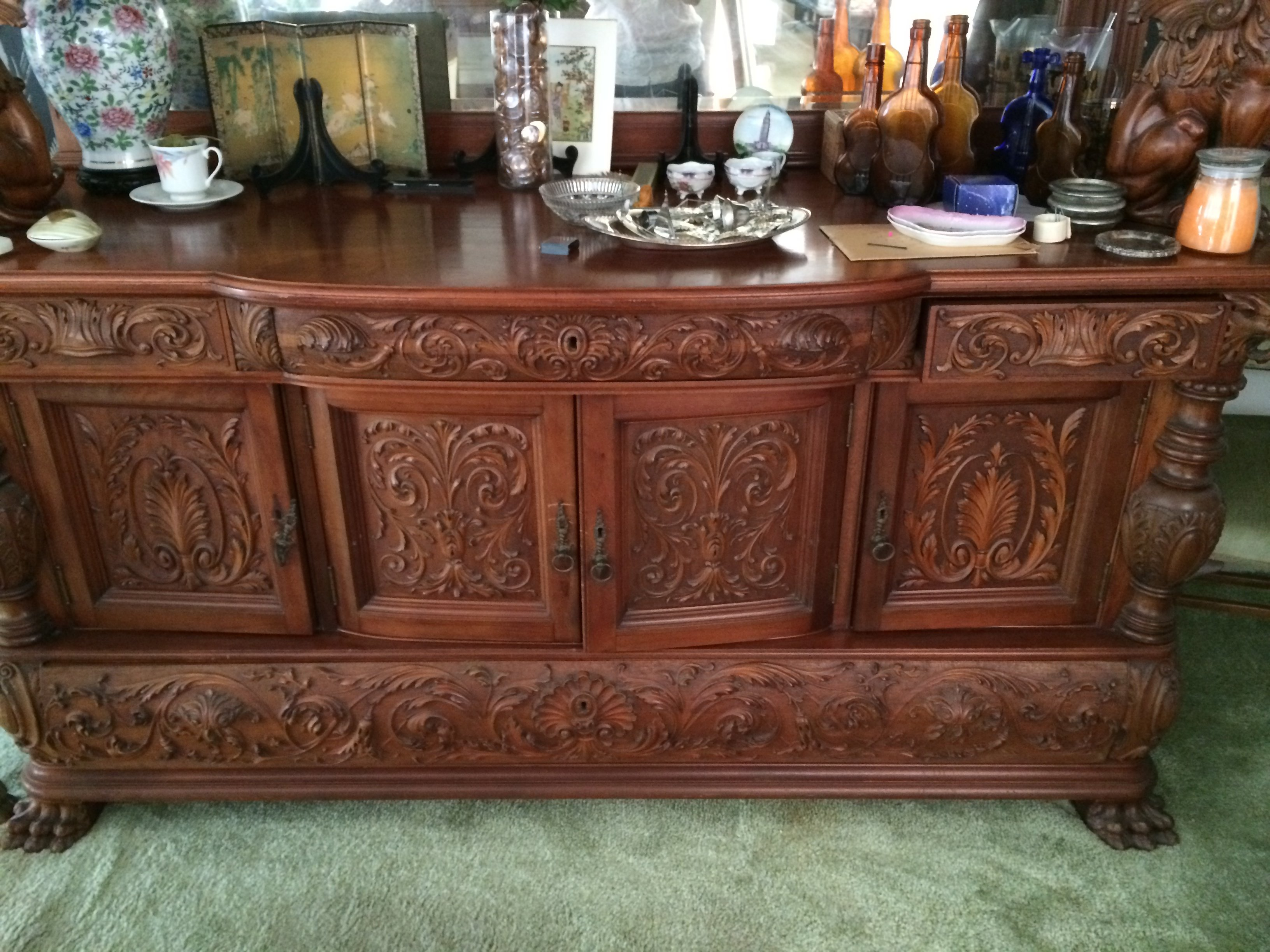 Have A Gorgeous Antique Dining Room Table, Chairs, Buffet, And Curio  Cabinet.. Wanting Information About It And A Value