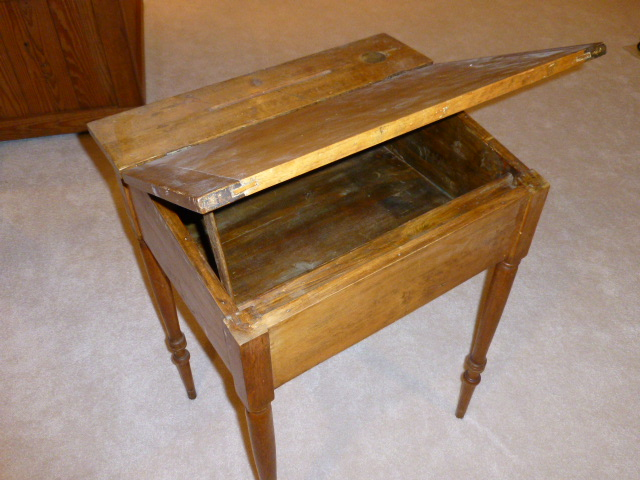 What is the value of an antique school desk? Square, about - What Is - Antique School Desk Inkwell Antique Furniture