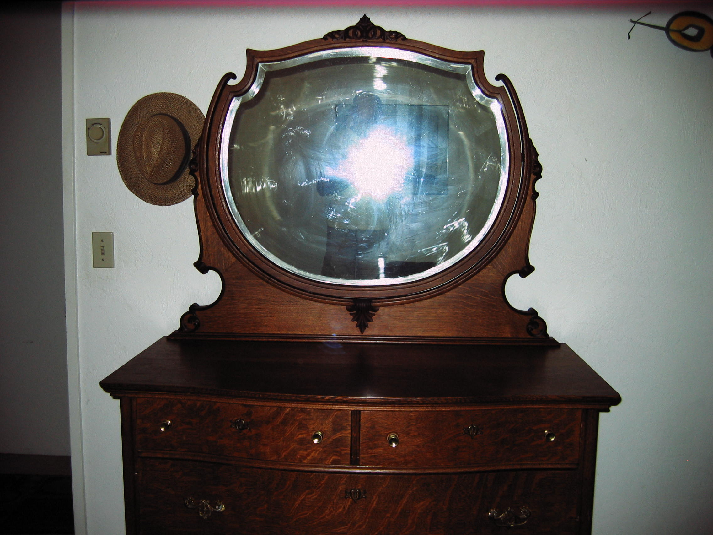 Have Dresser W Mirror Skeleton Key Locks Wooden Wheels Br Hardware Oak Inlaid Frame Very Good Condition Picture