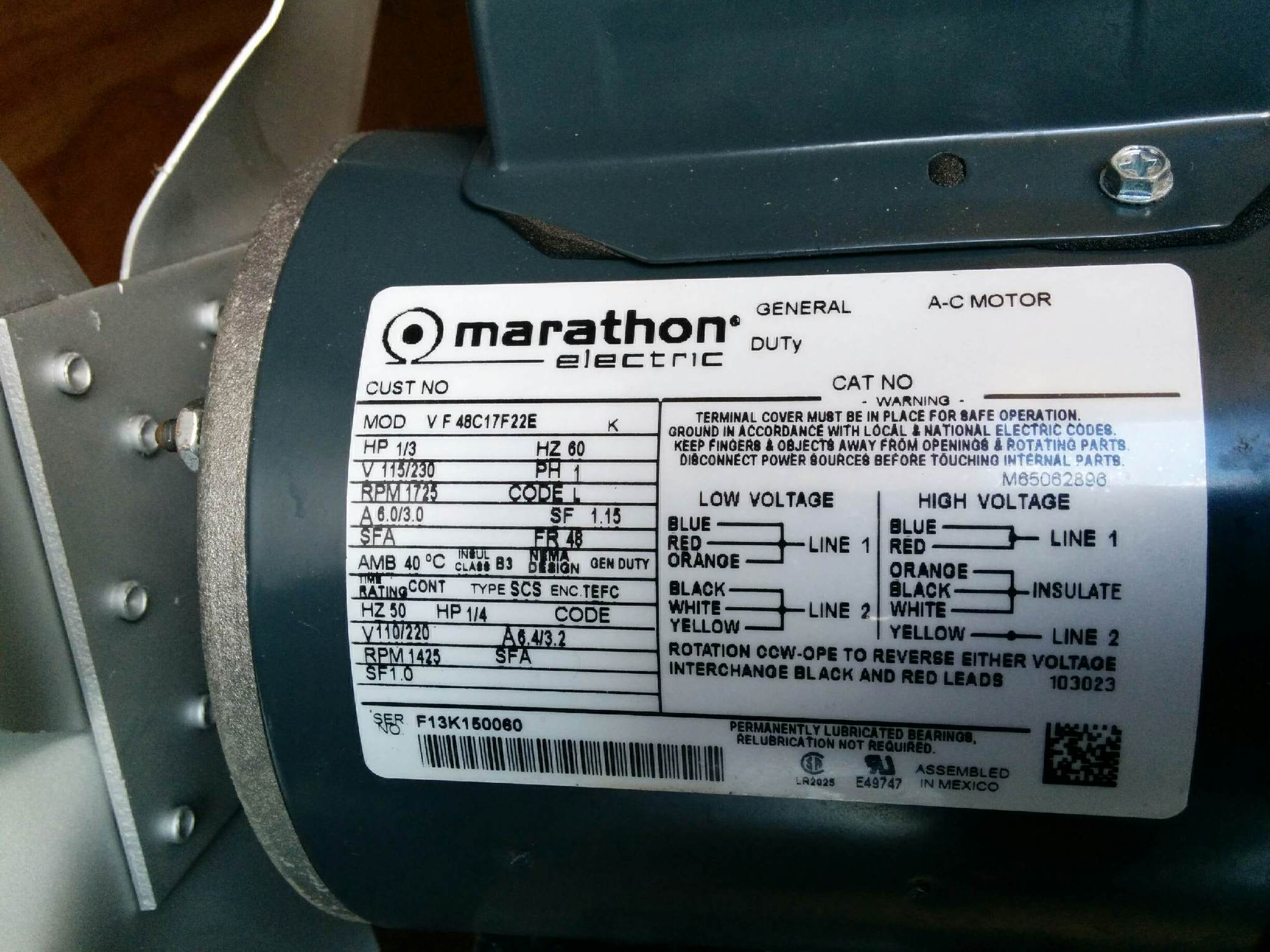 I have a marathon electric motor 1 3 hp i 39 m trying to for Marathon electric motors model numbers