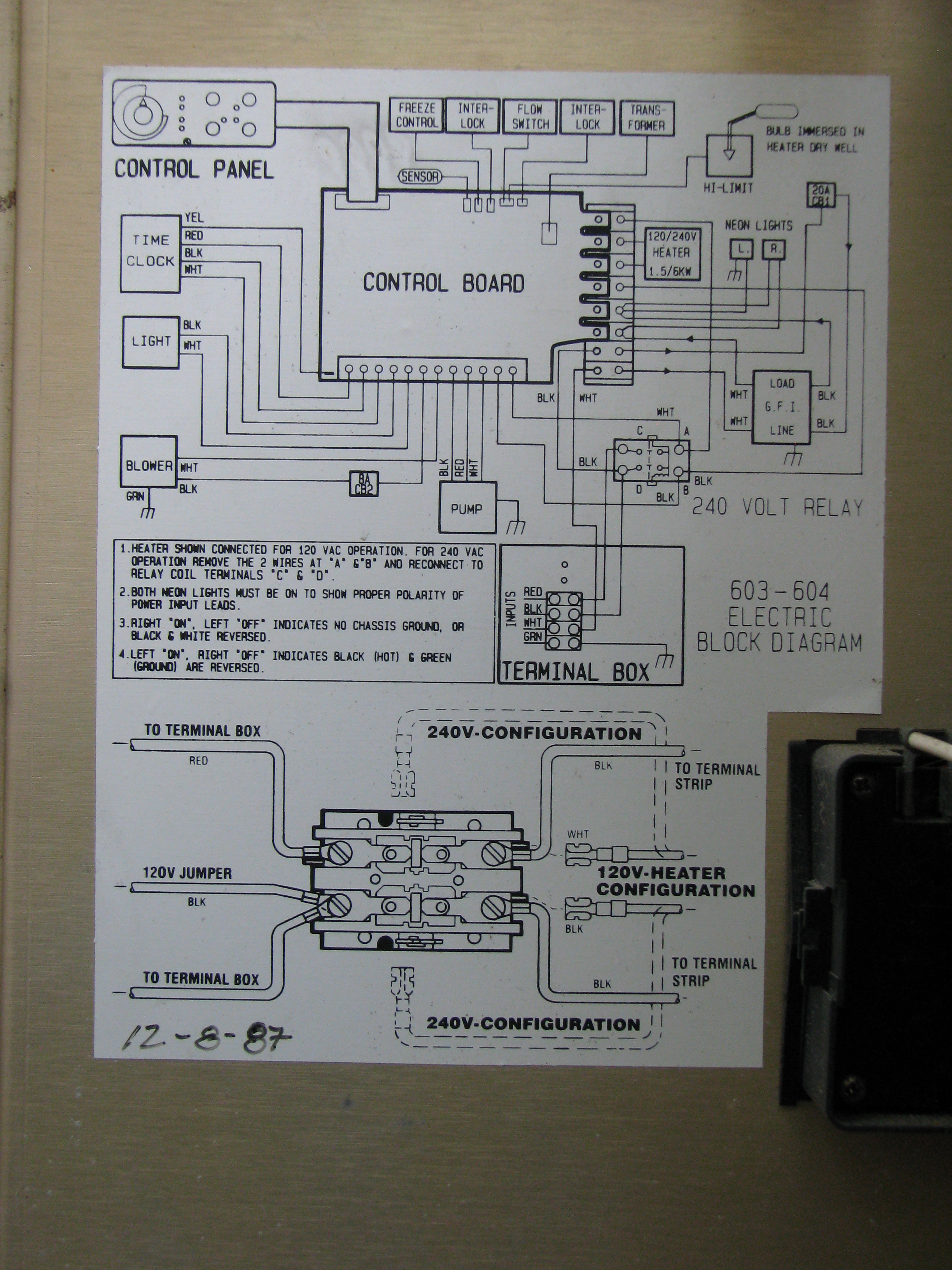 I was given a 1987 or 88 sundance cameo jr spa. It was said ...  Volt Light Relay Wiring Diagram on 240 volt time delay relay, 240 volt 3 phase motor wiring, california three-way switch diagram, 240 volt gfci breaker diagram, simple photocell diagram, 24 volt wiring diagram, air compressor 240 volt circuit diagram,