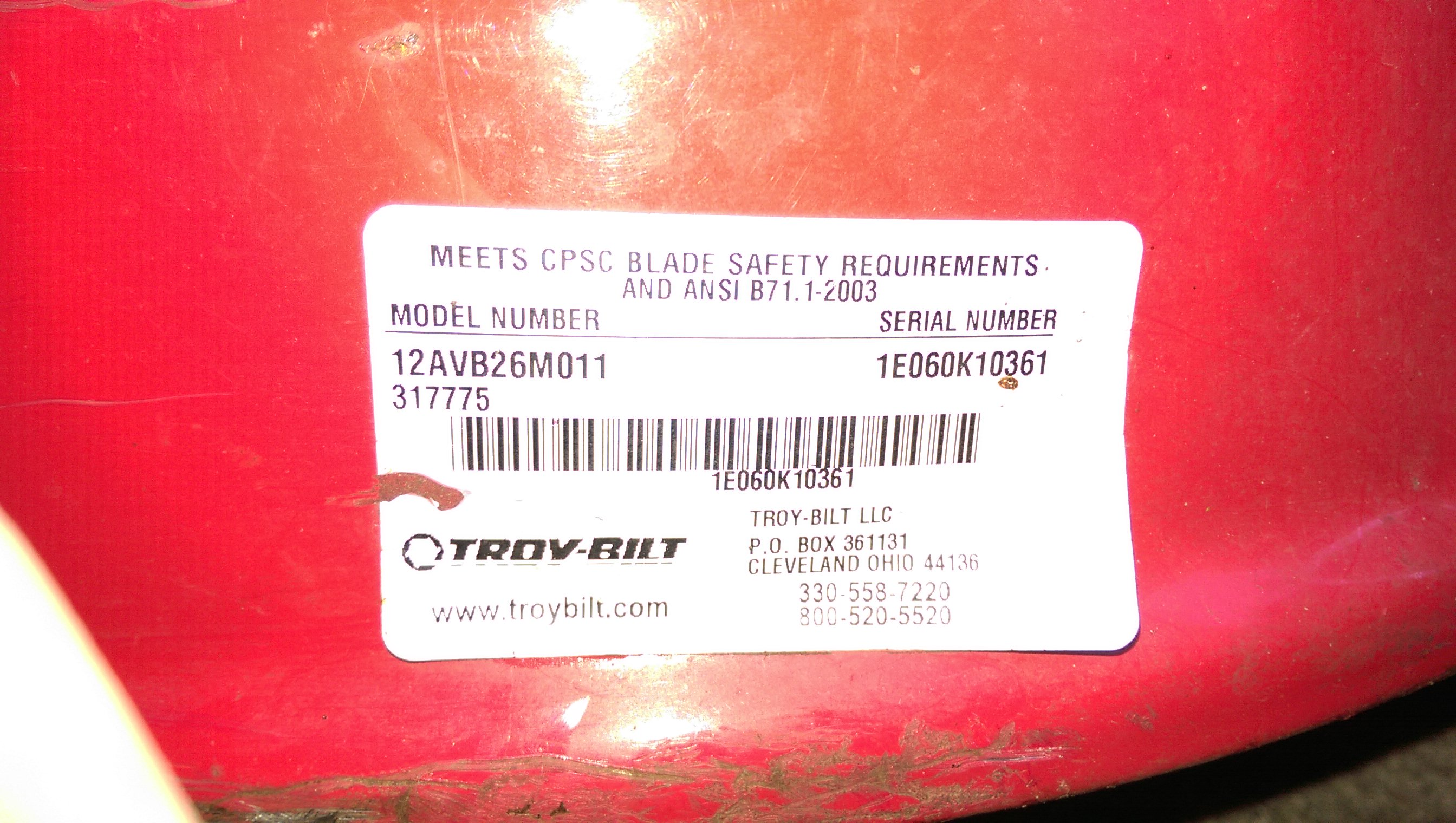 troy bilt year by serial number