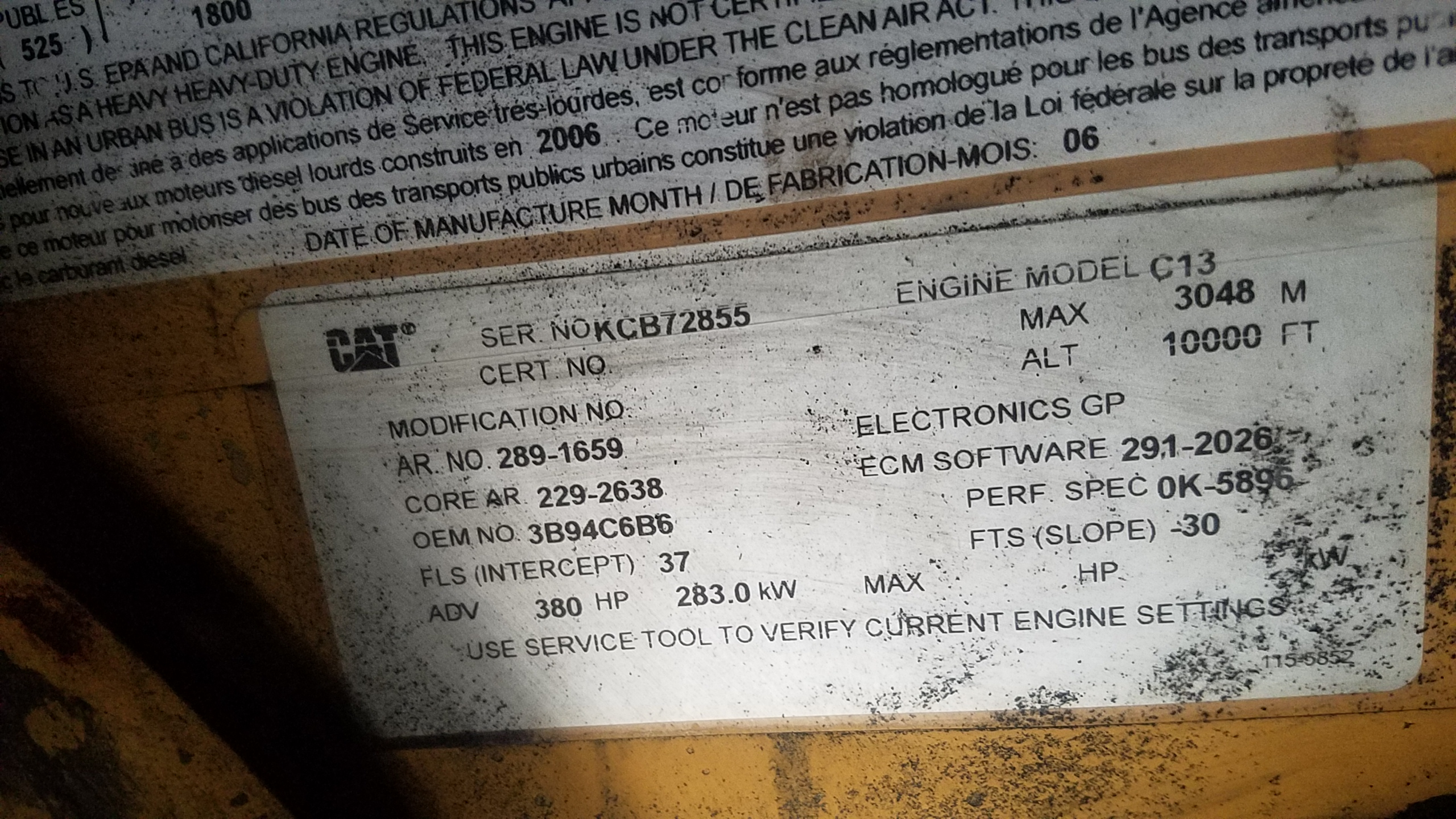 2005 international 7600 c13 engine  It has some codes for data link