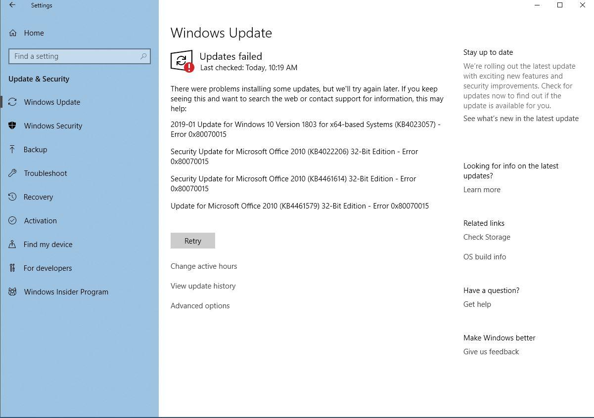 Windows Update Fails (Windows 10 -- HP Desktop computer)   Also
