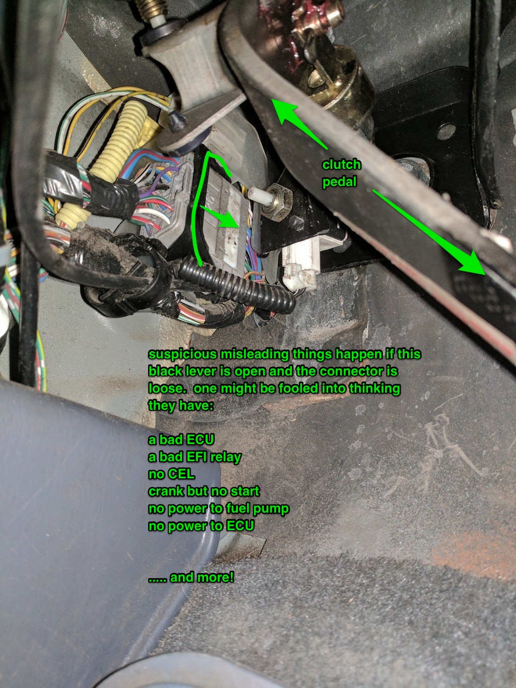 No power to + in diagnostic port or @ ECU  car turns over