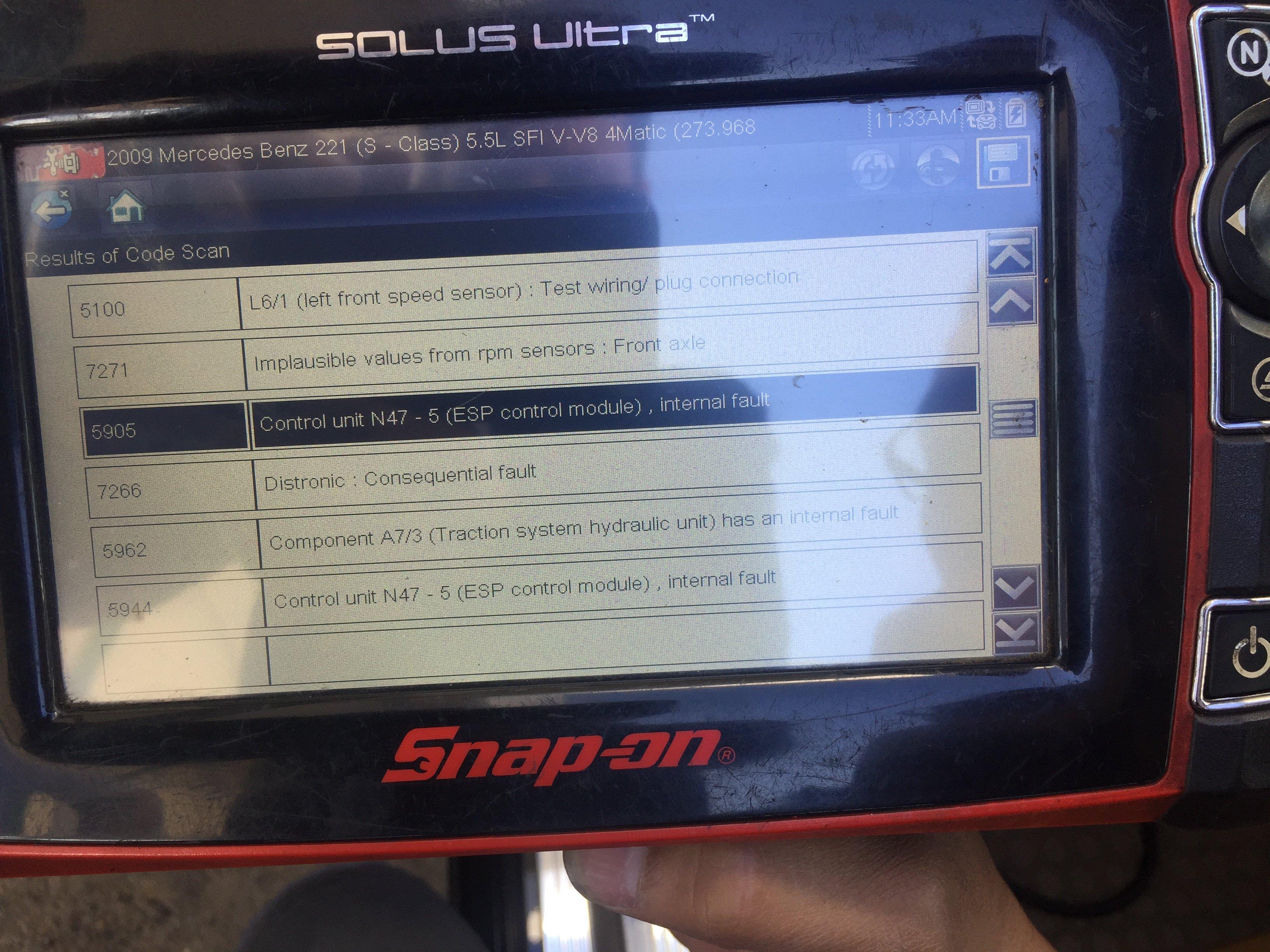 S550 09 esp error heavey ateering error 5905  Error 5905 control