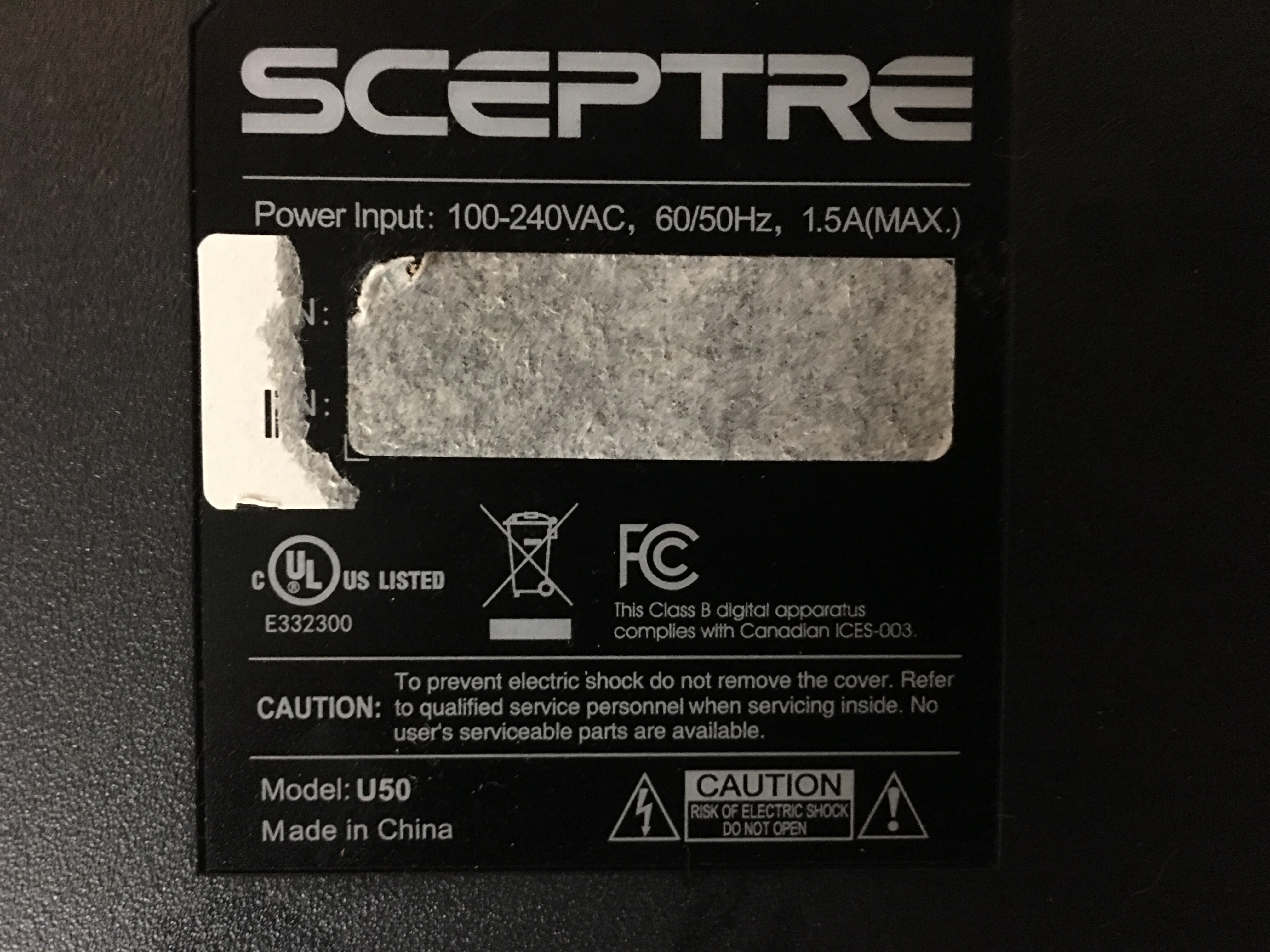 I have the sceptre u-50 4K series tv and i recently replaced the