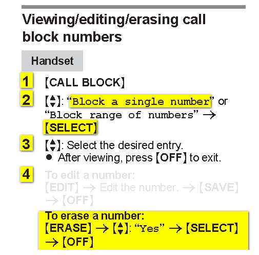 How do I unblock a number from my landline panasonic phone, idk a few  years, we accidently blocked a number by mistake,