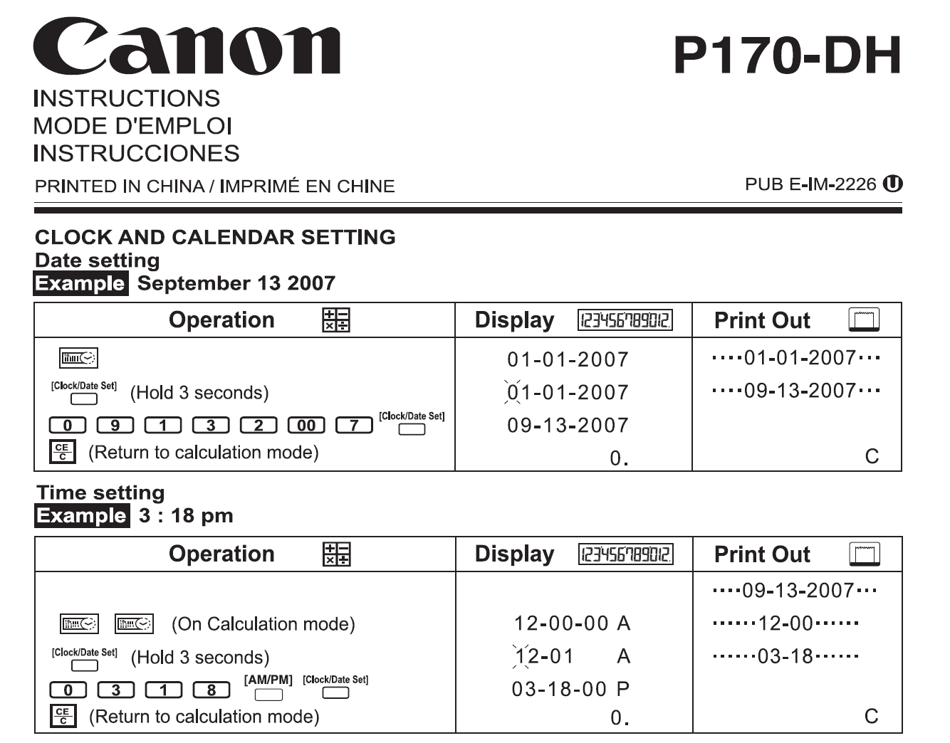 How Do I Reset The Date And Time On My Canon P170dh Calculator
