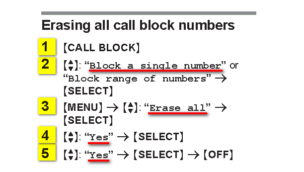 How do I unblock callers? KX-YGEA40 Sorry it me so, Iwas