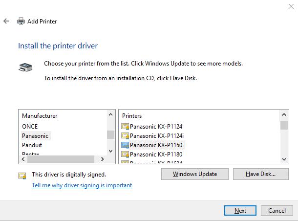 Panasonic kx -p1150 parallel 9-pin dot matrix impact printer.