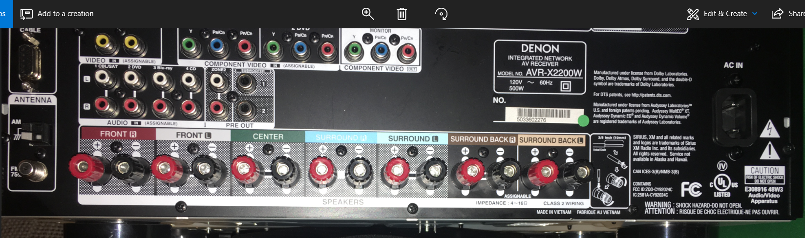 I Am Trying To Set Up 4 Atmos Speakers With My Denon Avr X2200w But X3300w Backvdenon A
