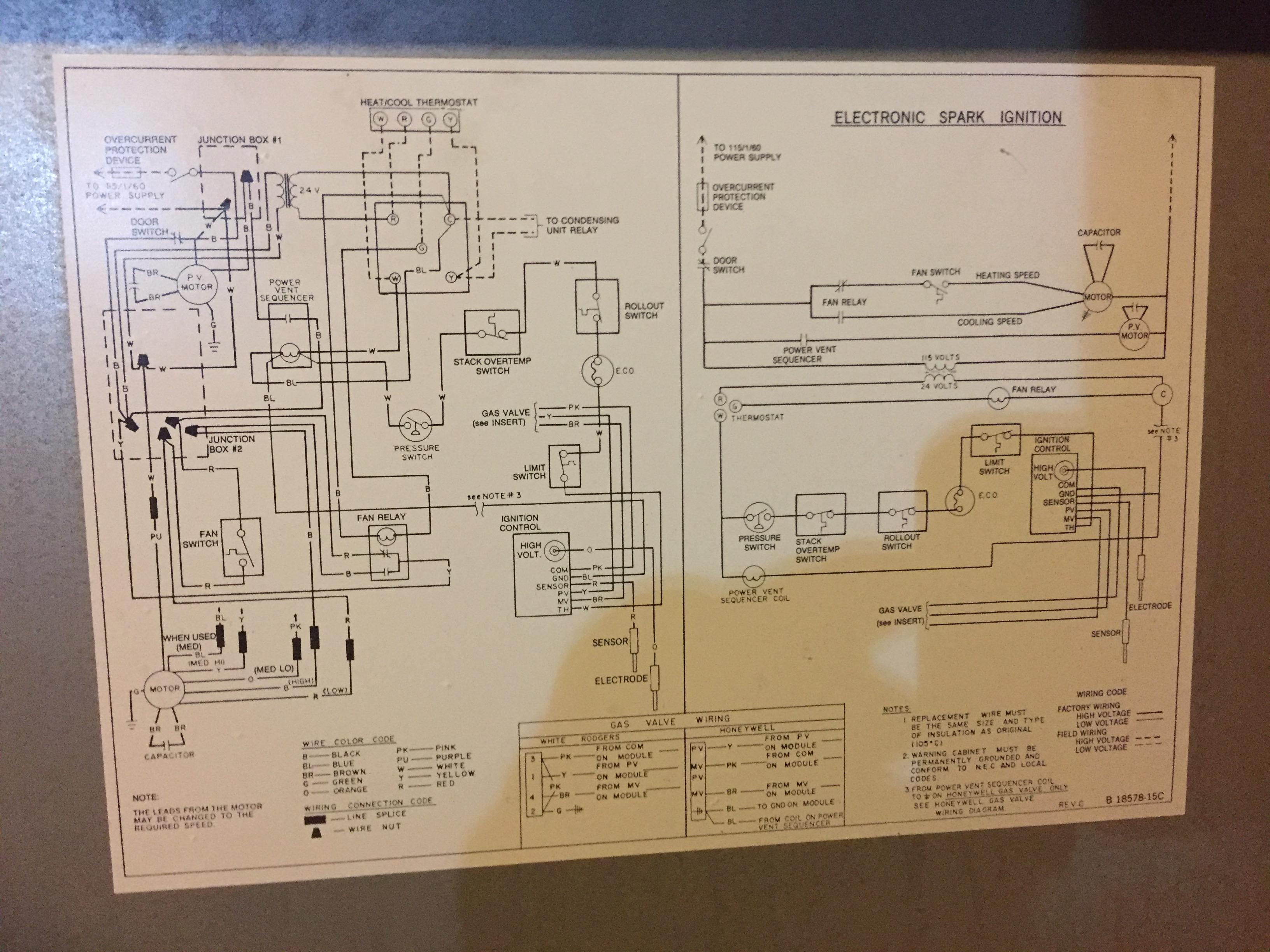 Goodman/janitrol gun100-4 92%. t-stat calls for heat ... on marvair wiring diagram, centurion wiring diagram, weather king wiring diagram, general wiring diagram, heat controller wiring diagram, evcon wiring diagram, sears wiring diagram, roper wiring diagram, viking wiring diagram, johnson controls wiring diagram, concord wiring diagram, lochinvar wiring diagram, panasonic wiring diagram, estate wiring diagram, broan wiring diagram, crosley wiring diagram, payne wiring diagram, columbia wiring diagram, climatrol wiring diagram, goettl wiring diagram,