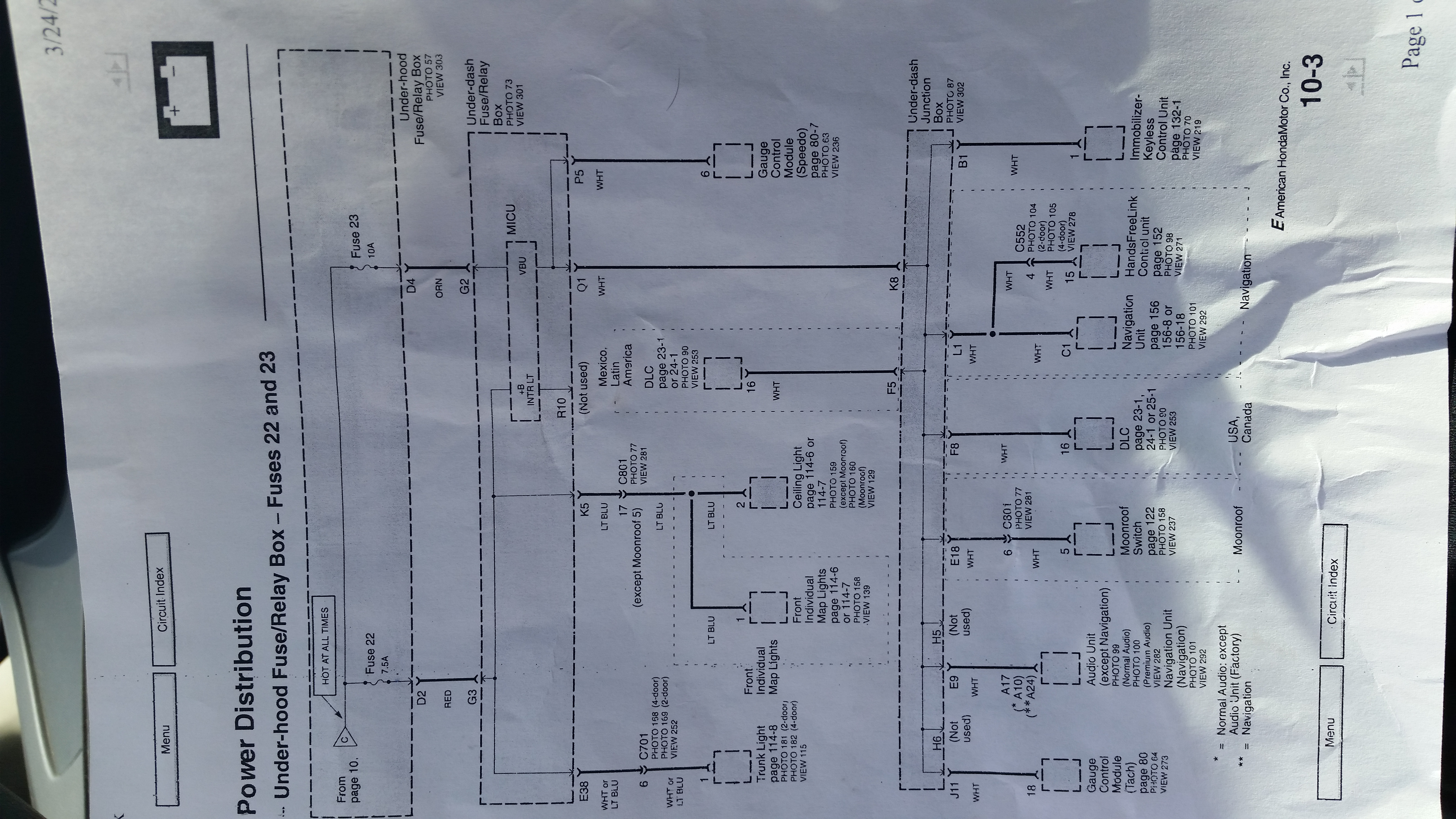 I Have A Draw That Ive Isolated To Fuse 23 In The Under Hood 2010 Honda Odyssey Wiring Diagram Backup Acc 1459023317818