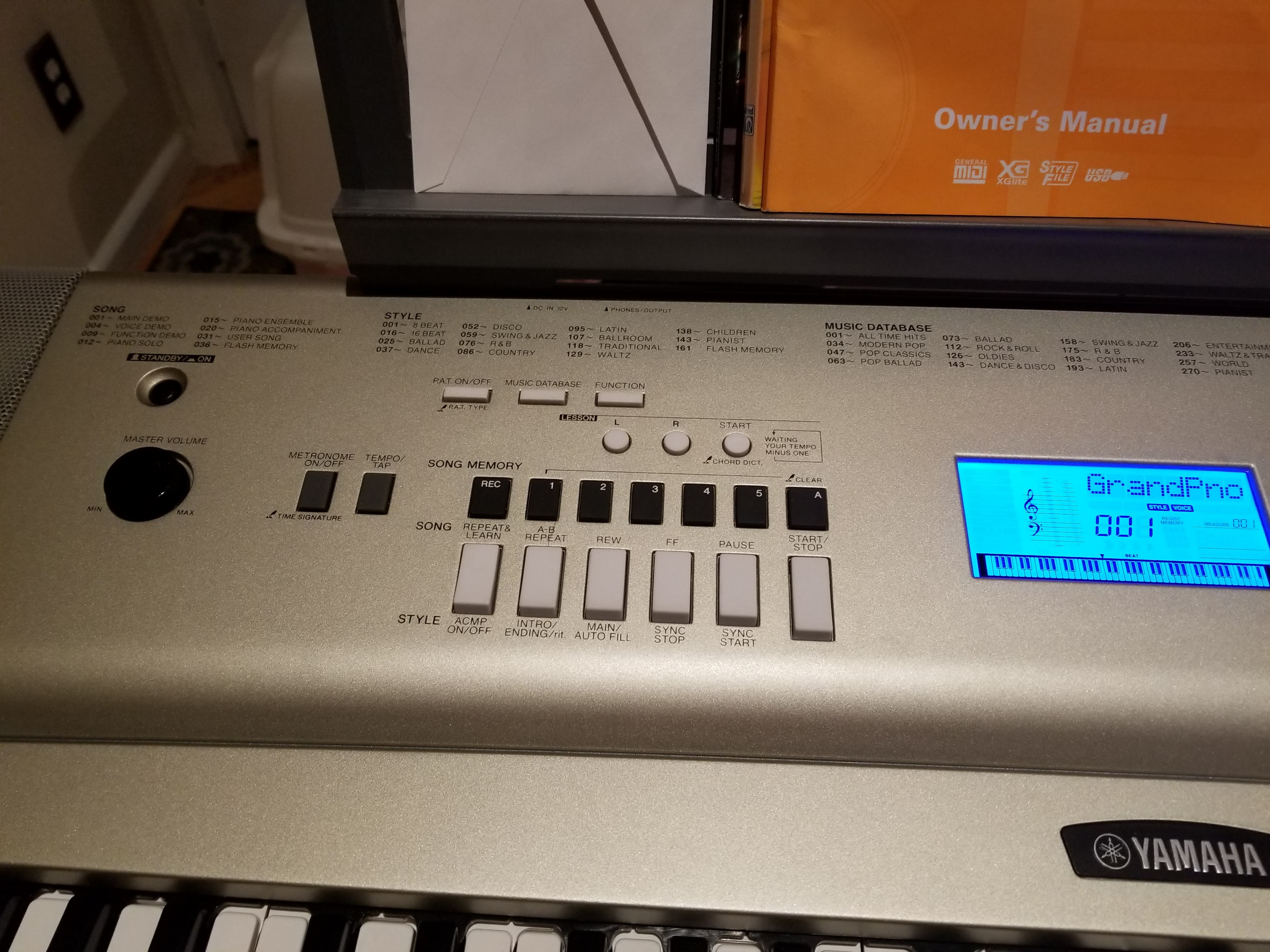 I own a Yamaha YPG-235/DPG-230 electric keyboard  I just put