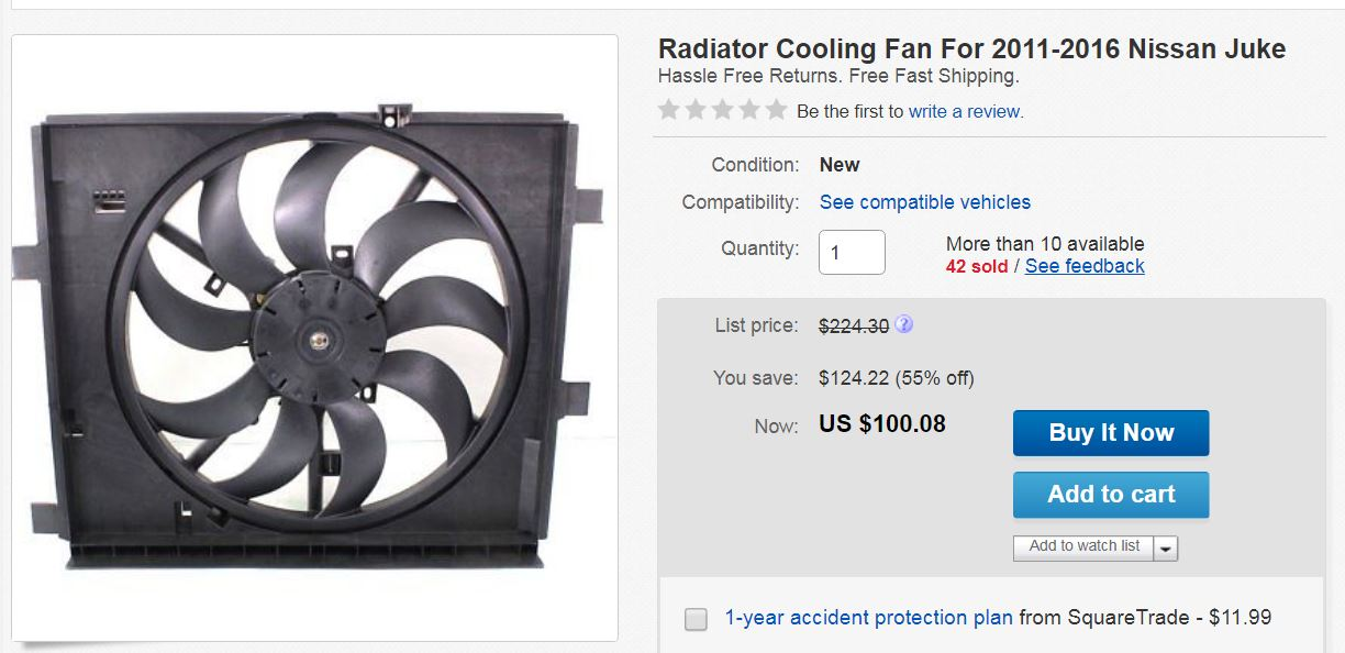 I have a 2011 Nissan Juke SV 1 6lL with a bad cooling fan