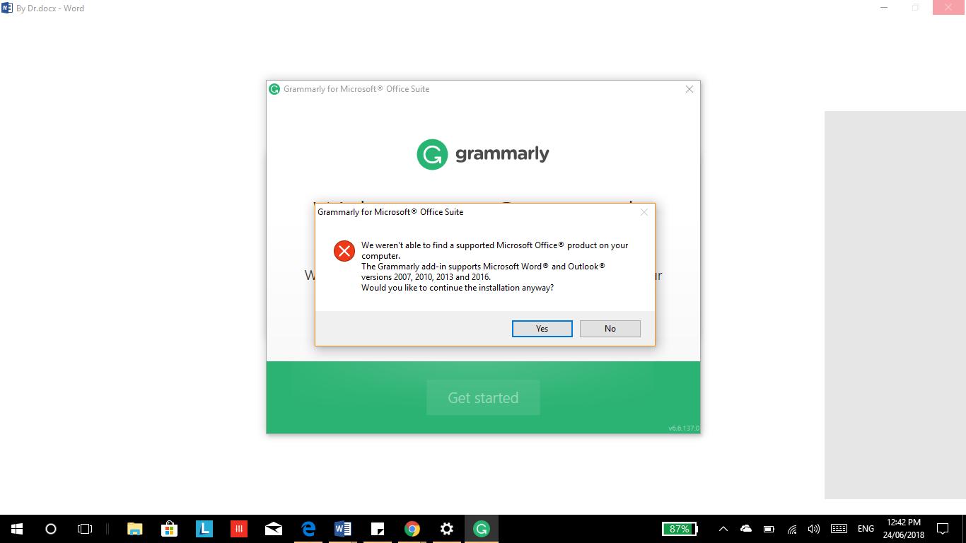 I'm installing Grammarly to my word  I've already installed