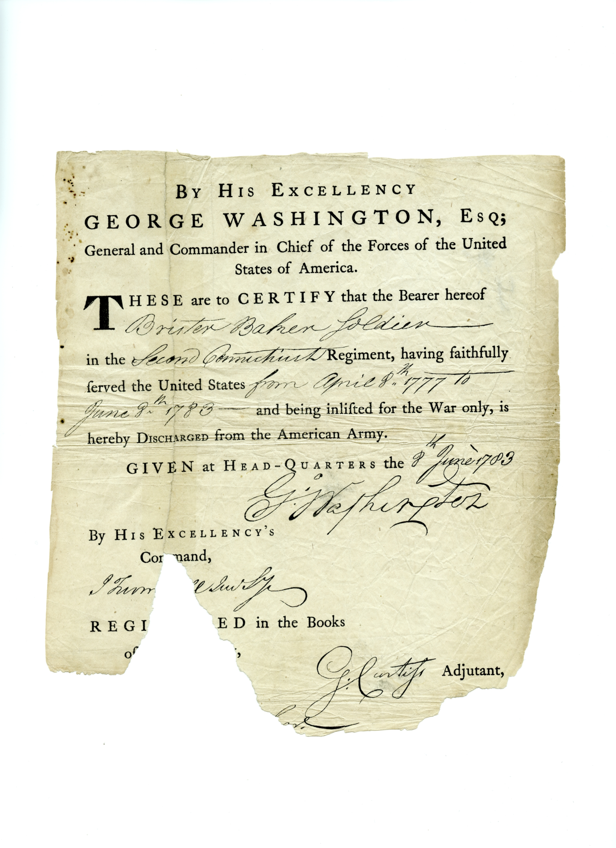 Washington signed Continental Army discharge, front.jpg