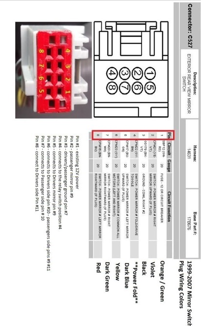 We Need The Pin Diagram For A 2008 Xlt Ford F350 Tow Mirrors Right And Left Side Old Harness Was Cut And Mirror