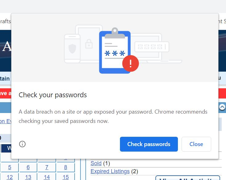 Google Chrome Warning - Password compromised.JPG