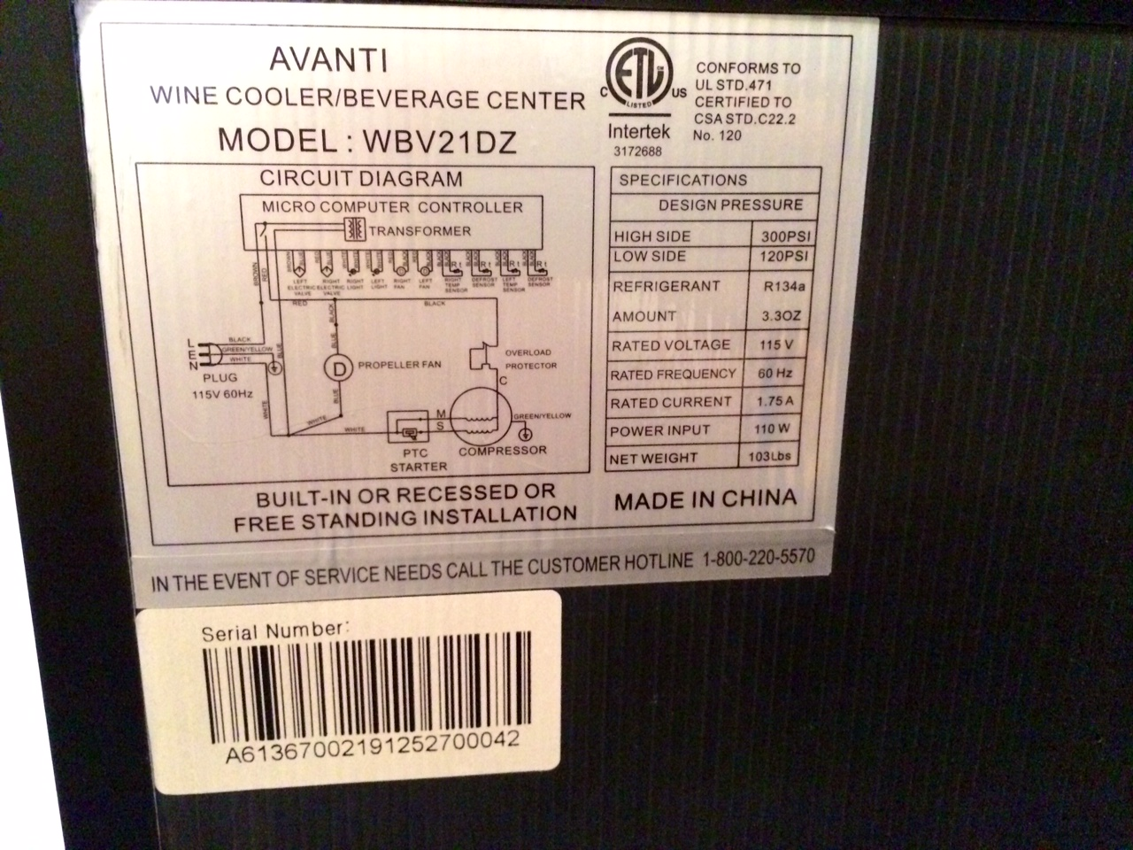 2010 Rinker Avanti Wiring Diagram All Kind Of Diagrams I Have An Wbv21dz Dual Zone Wine Beverage Cooler The Display Rh Justanswer Com