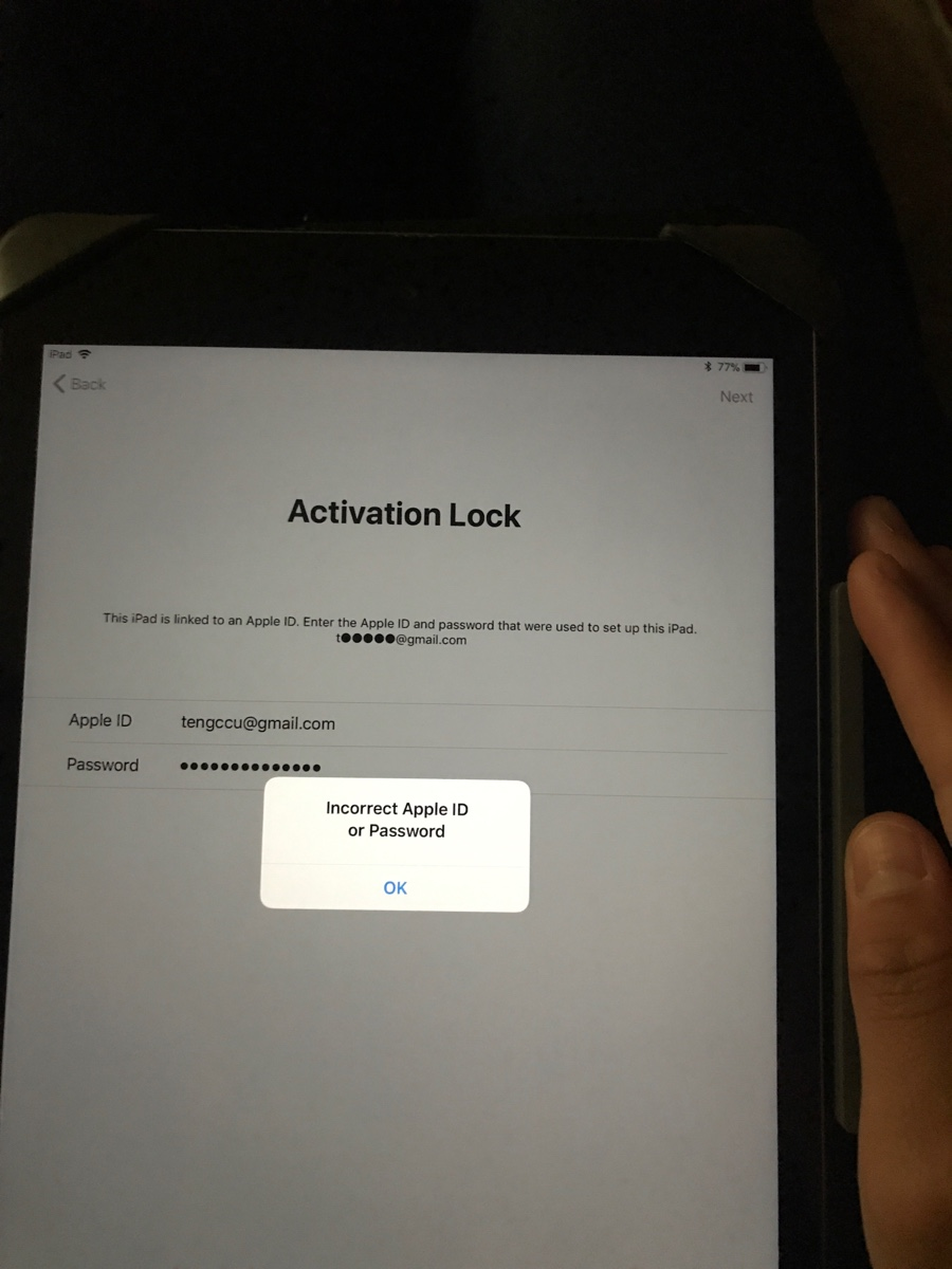 incorrect apple id to unlock this iphone activation lock
