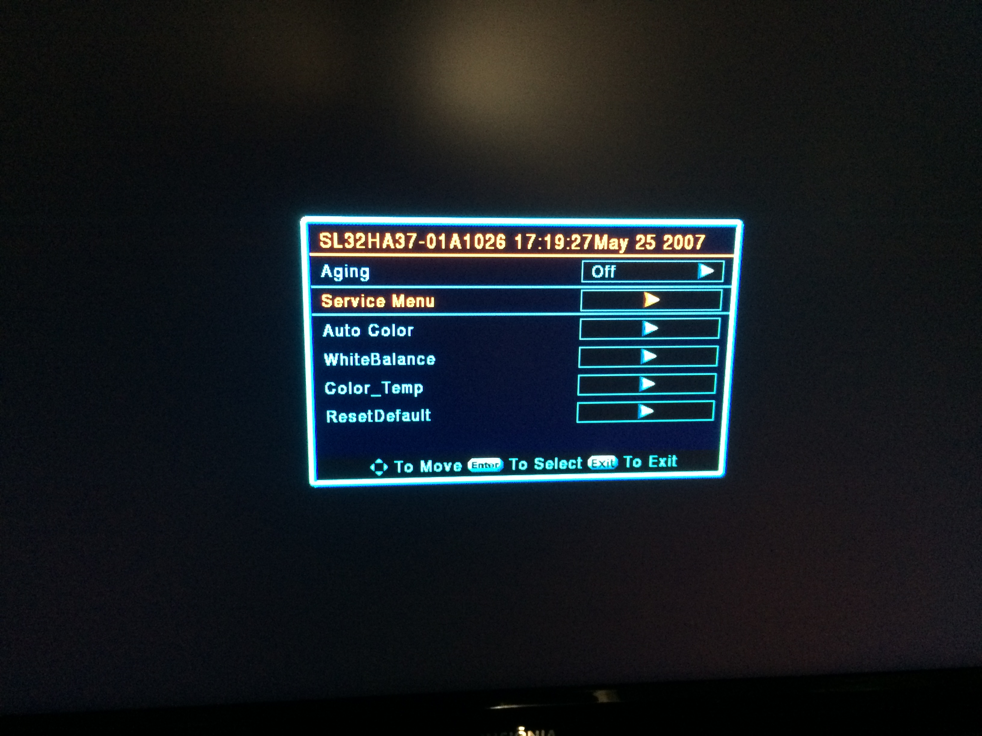Can't enter service mode to turn off overscan, Insignia NS-LCD32