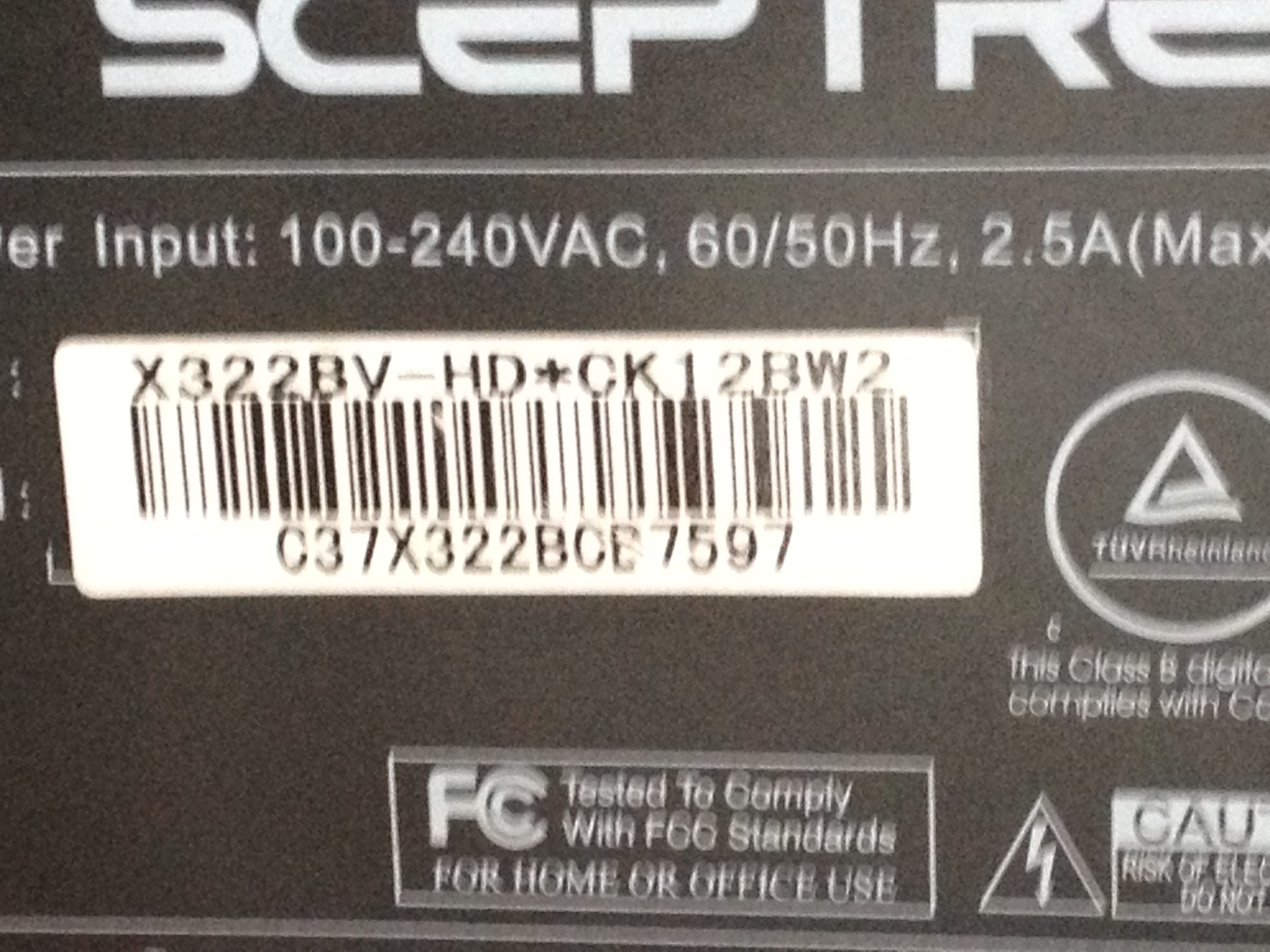 I Have A Sceptre X322bv Hd Ck12bw2 That The Power Light Comes On