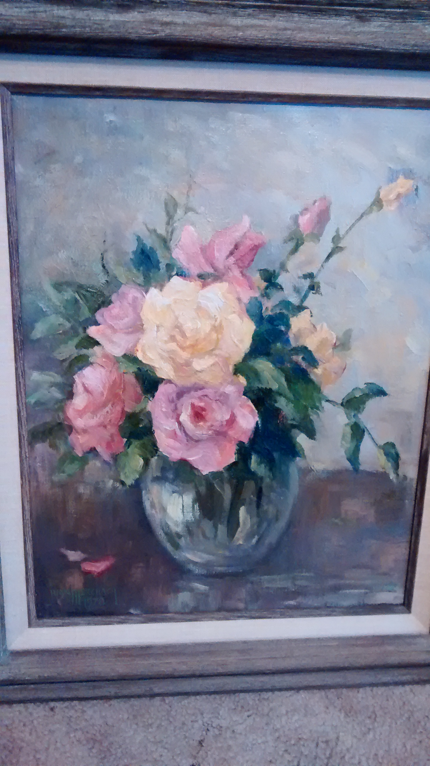 4 - Juan Menchaca painting - Vase of roses - Yellow Rose written on back.jpg