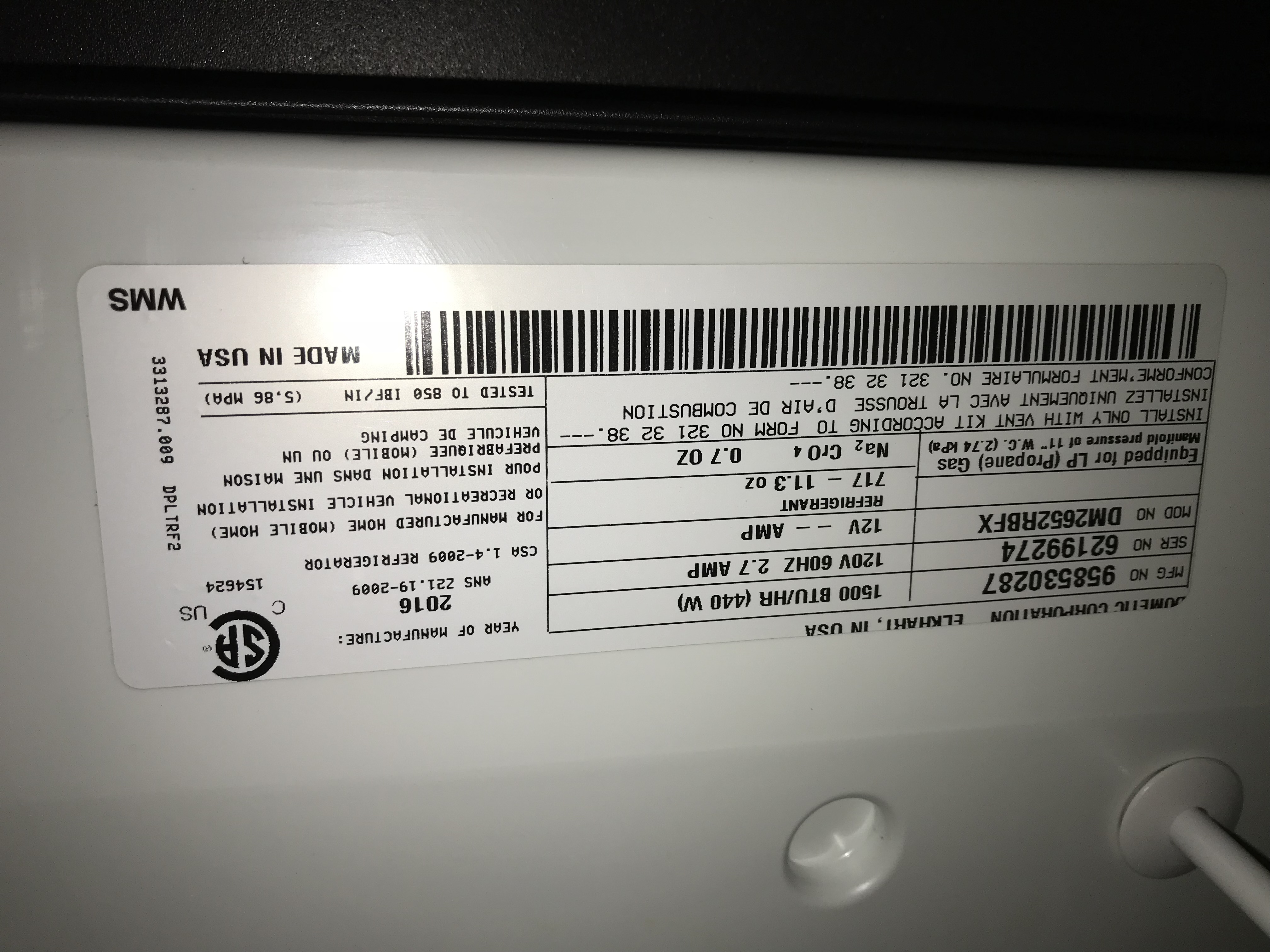 Dometic 2351 I believe, no 12v  Check light comes on and