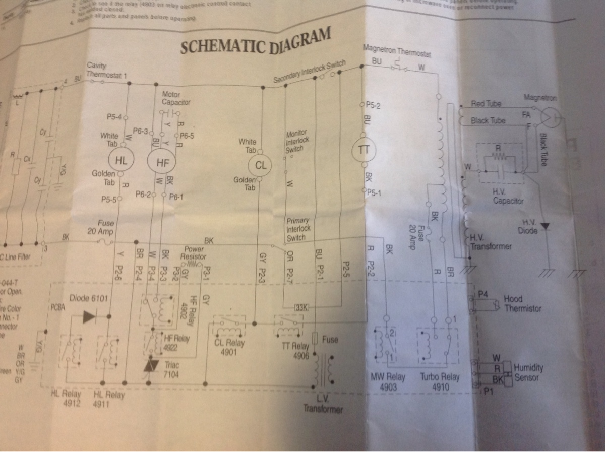 Maytag Microwave Wiring Diagram I Am Working On A Over The Range Model Number Image0