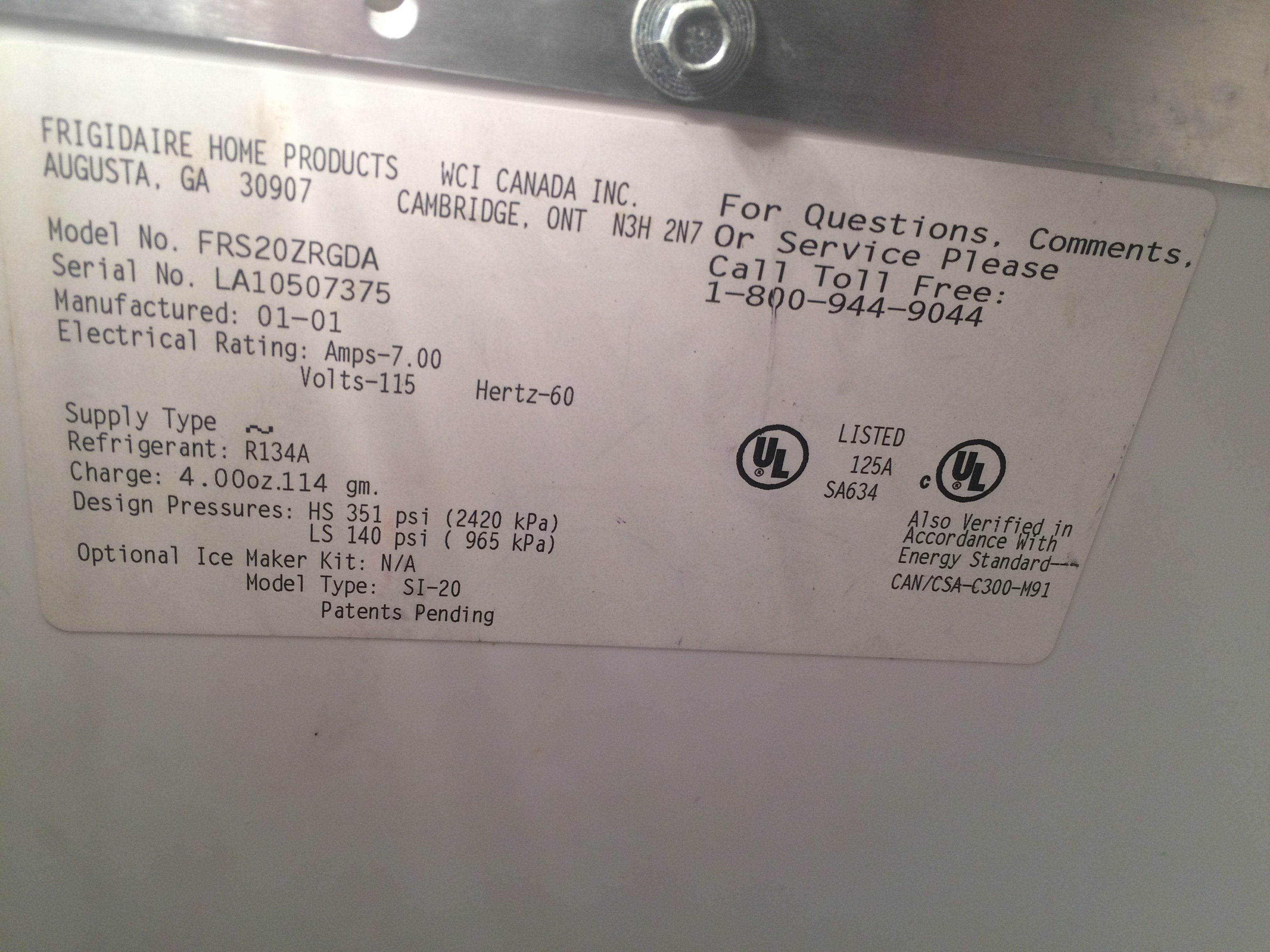I have a frigidaire model frs20zrg side by side  the fridge