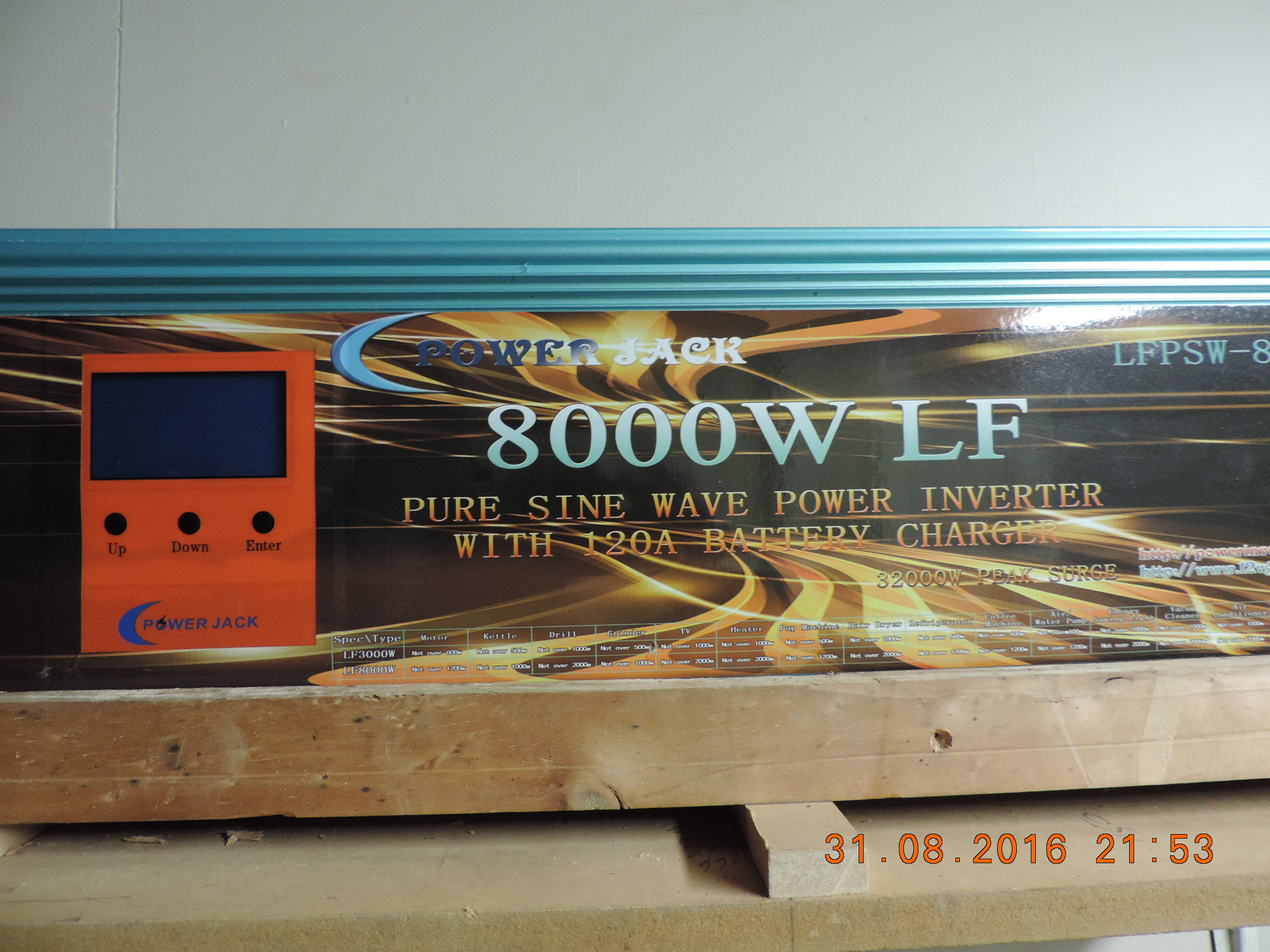 I have just bought a Power LFPSW-8000-120A Pure Sine Wave