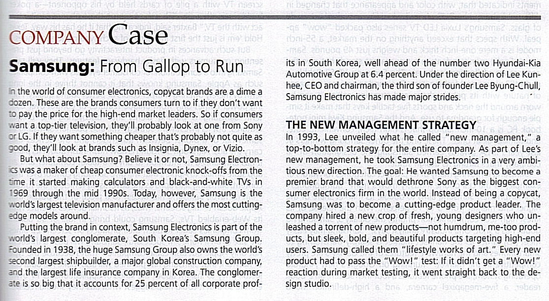 """how was samsung able to go from copycat brand to product leader Samsung was able to go from copycat brand to product leader by using a """"new product development"""" strategy (kotler and armstrong, p261) according to kotler/armstrong new product development is defined as the development of original products , product improvements, product modification, and new brand through the firm's own product."""