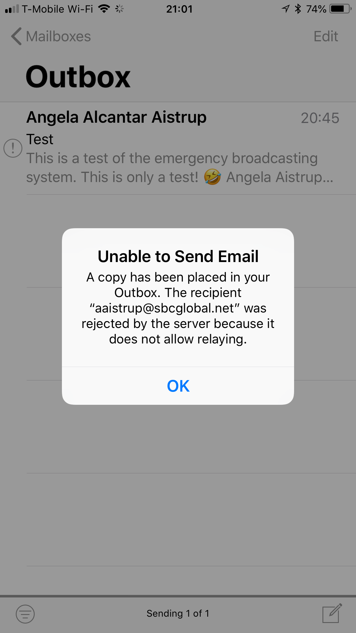 email does not allow relaying