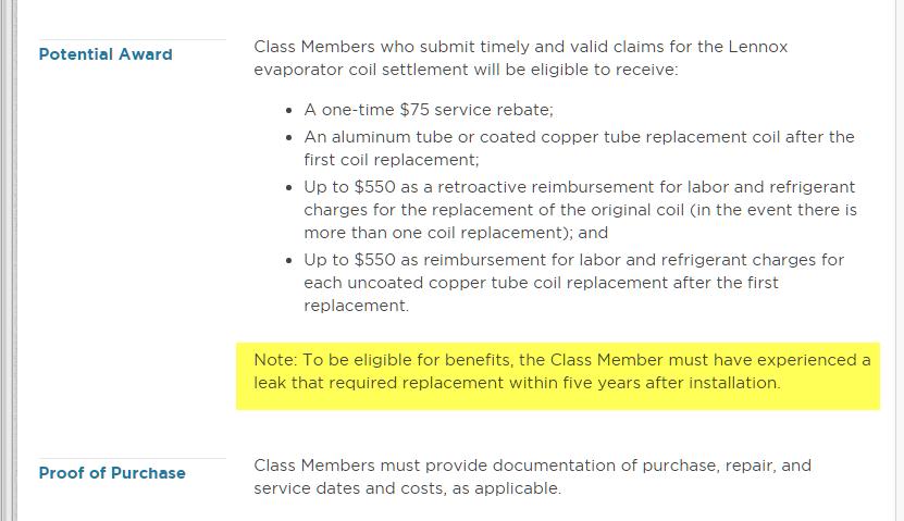 Re: Class Action Lawsuit for defective Lennox evaporator coils. My ...