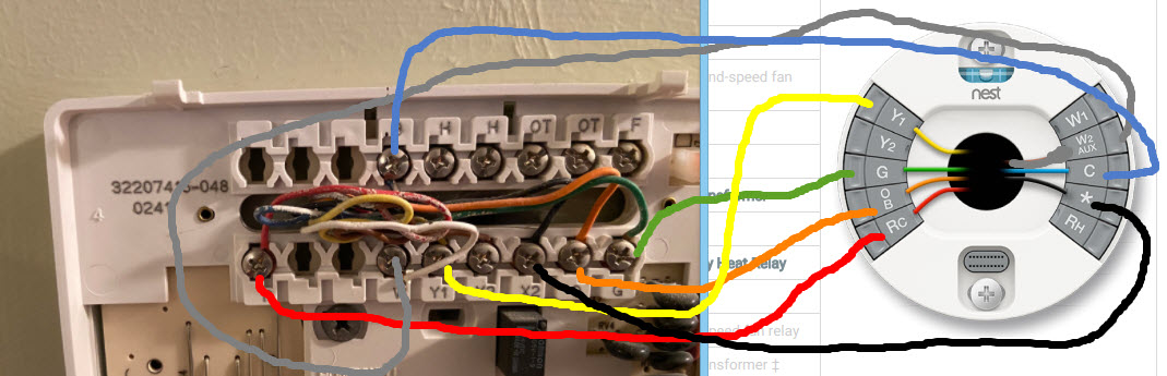 Replacing a trane Xt500c with nest. TAYSTAT500C w/ TAYPLUS103A Pictures  AvailableJustAnswer