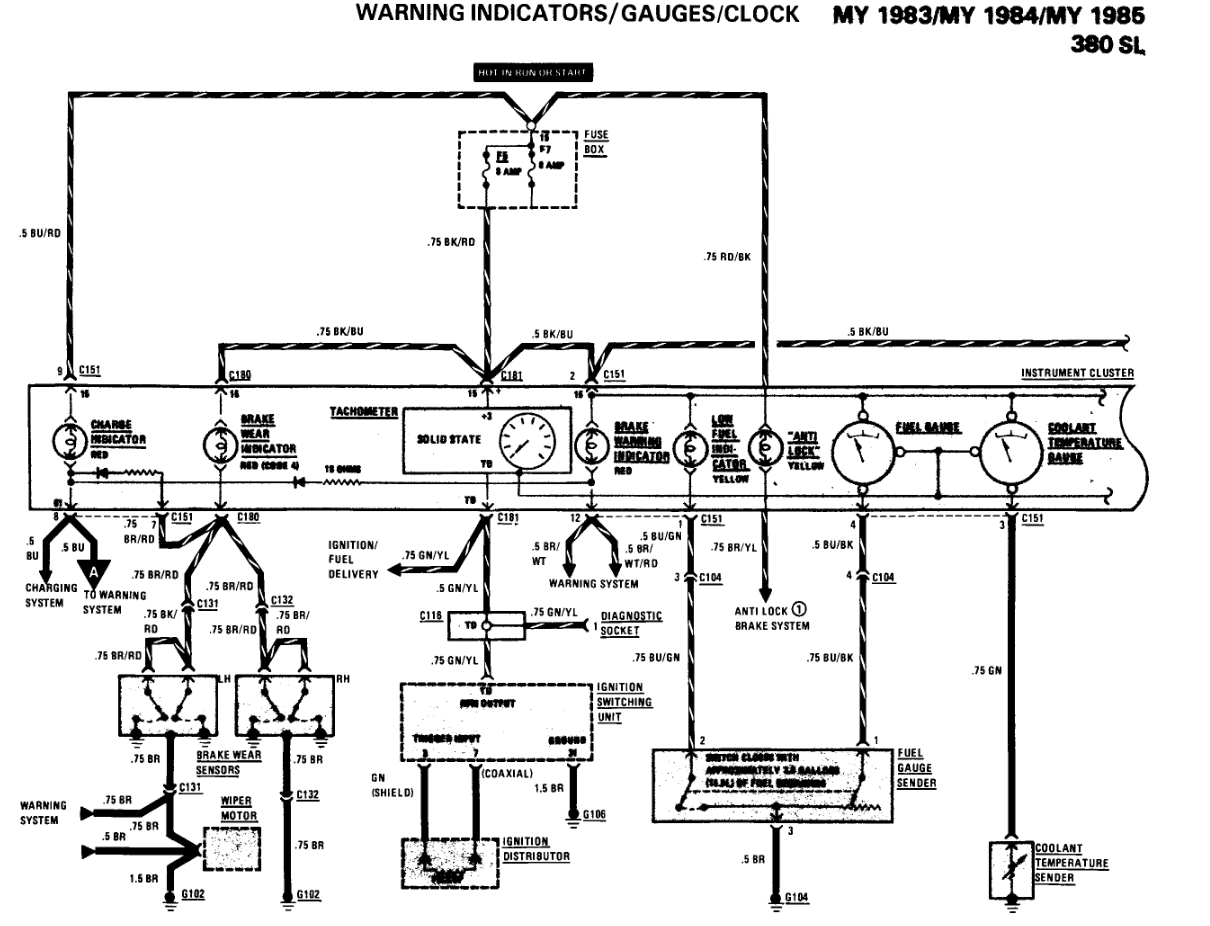 NEED WIRING DIAGRAM FOR 1983 MERCEDES 380 SL CLUSTER. The middle peace on  the 15 pin plug is broken want to make sure | Mb 380sl Wiring Diagram |  | JustAnswer