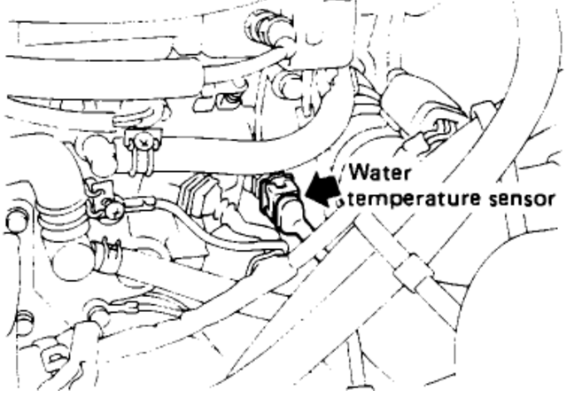 89 Nissan D21 Pickup Z24 Engine Locate Coolant Temp Sensor