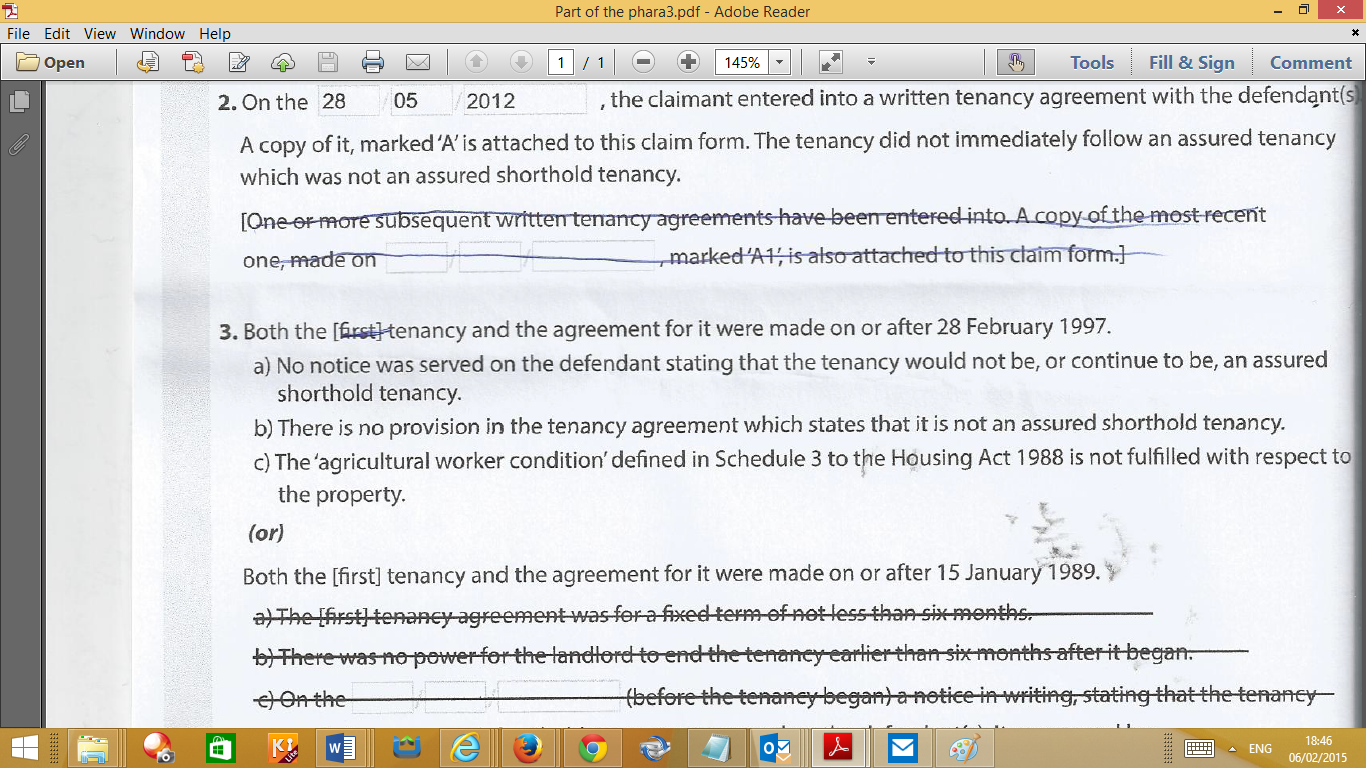 Q2 Of The N5b Formi Have One Tenancy Agreement For My Tenant And It